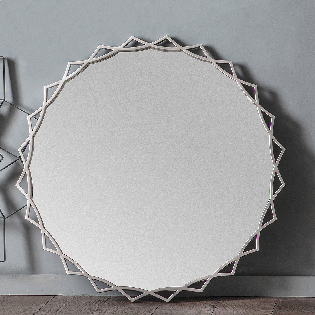 Well Known Metal Frame Wall Mirrors Regarding Silver Sunflower Round Wall Mirror (View 11 of 20)