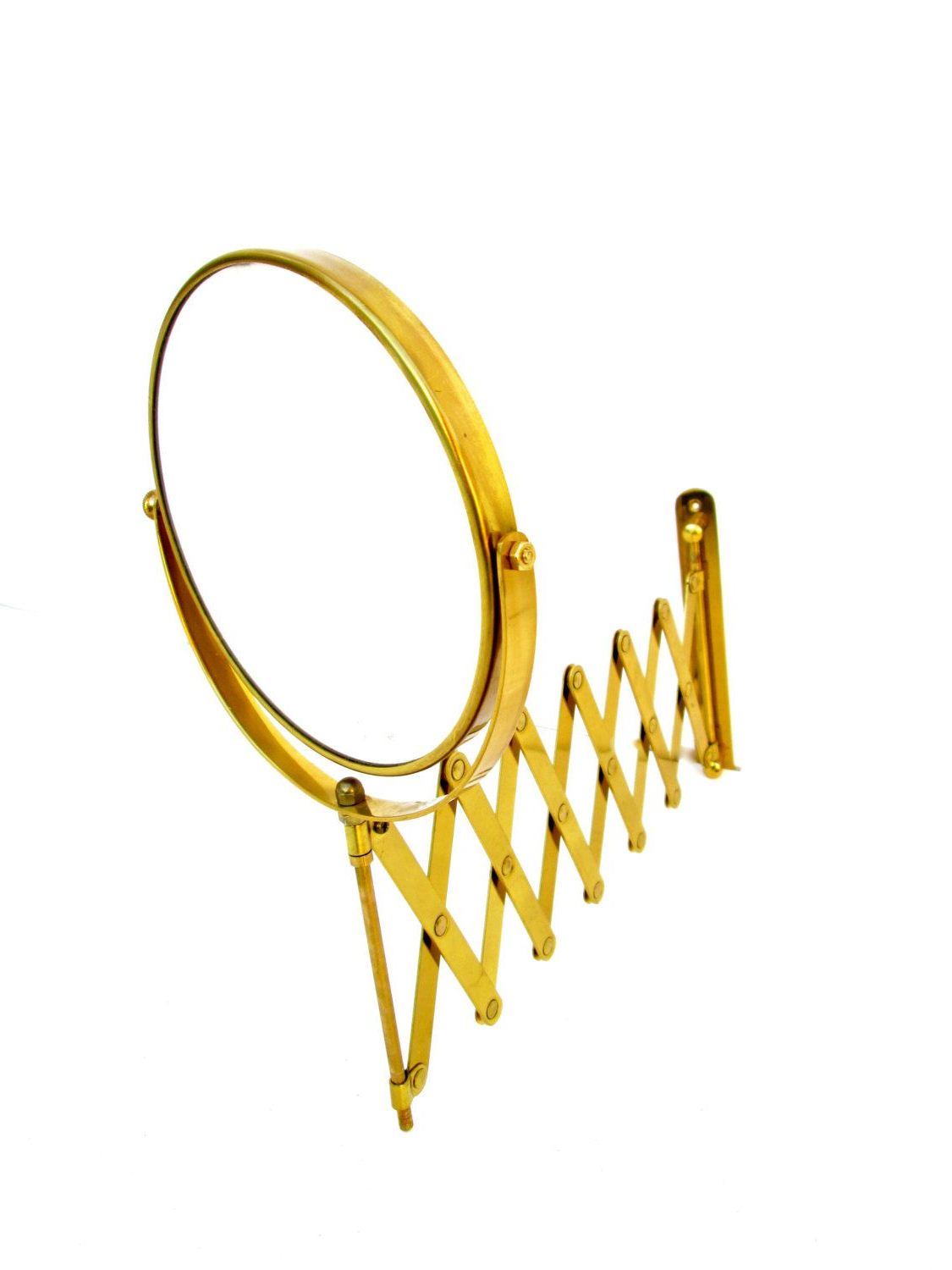 Well Known Mid Century Solid Brass Accordion Wall Mount Mirror (View 18 of 20)