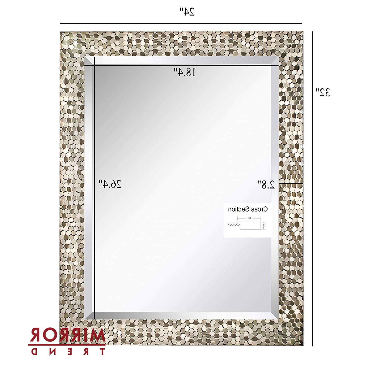 """Well Known Mirror Trend 24"""" X 32"""" Square Beveled Mirrors For Wall Mirrors For Living  Room Large Bathroom Mirrors Wall Mounted Mosaic Design Mirror For Wall Regarding Large Square Wall Mirrors (View 19 of 20)"""