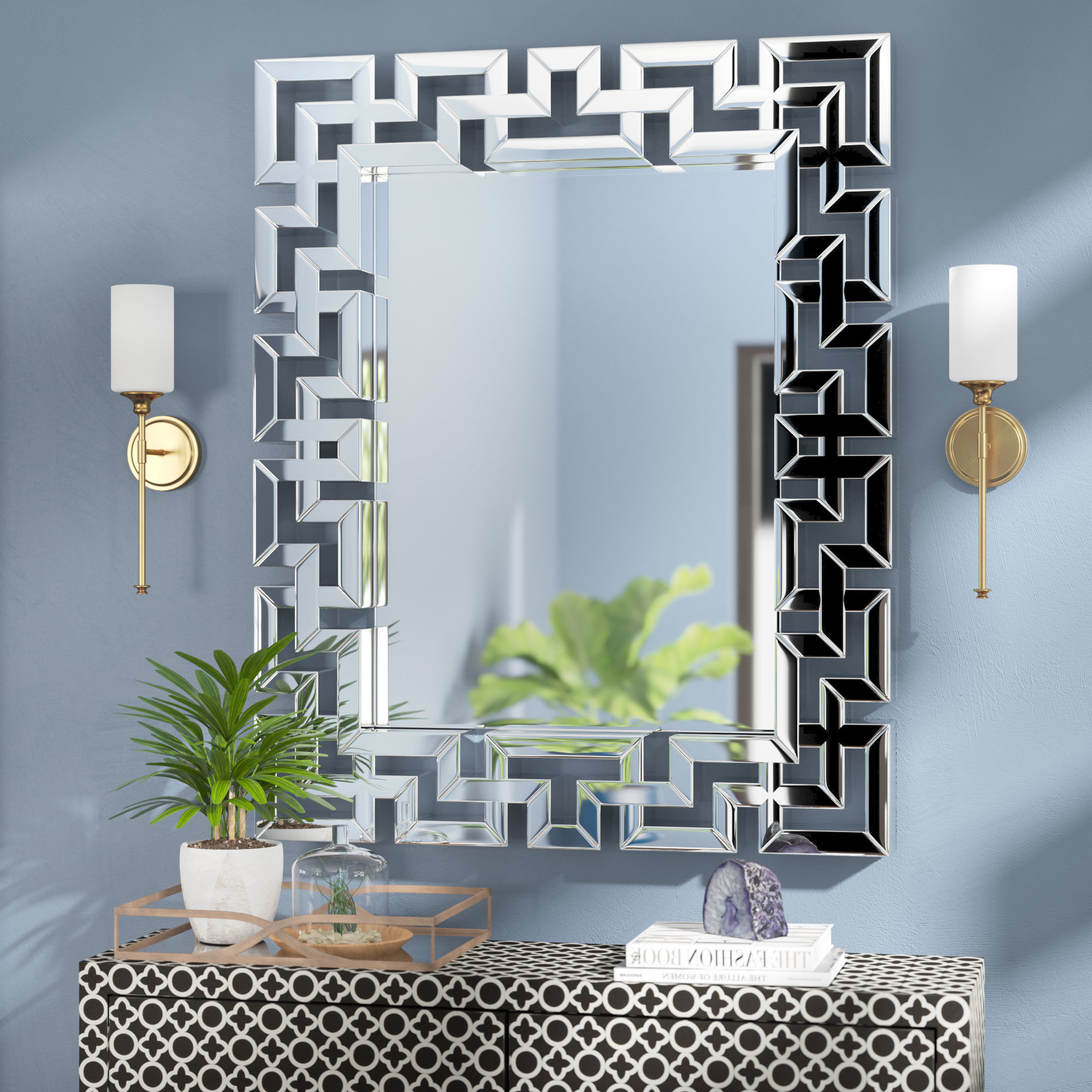 Well Known Mirrored Wall Mirrors Regarding Rectangle Ornate Geometric Wall Mirror (View 6 of 20)