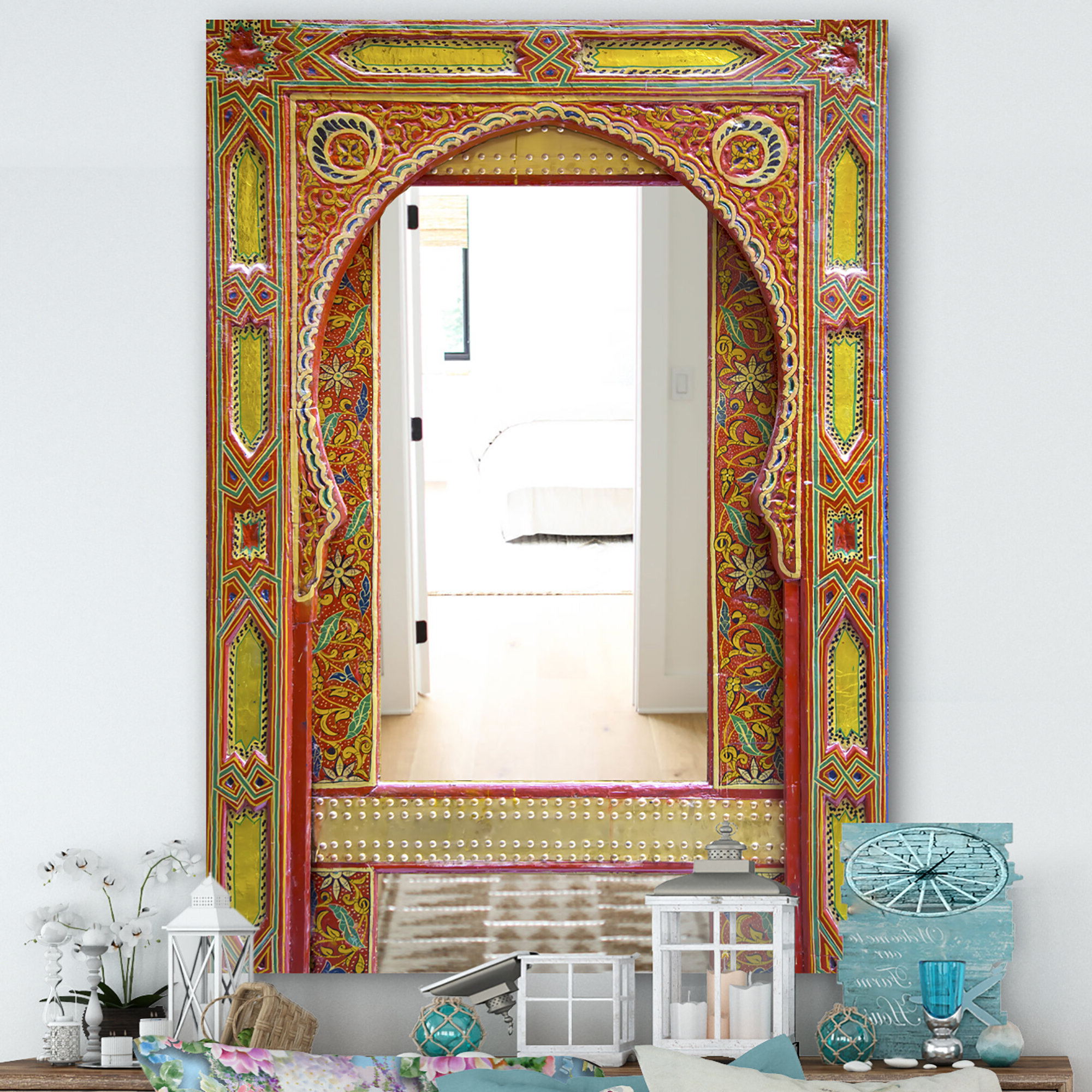 Well Known Moroccan Entrance Door Traditional Frameless Wall Mirror Within Moroccan Wall Mirrors (View 9 of 20)