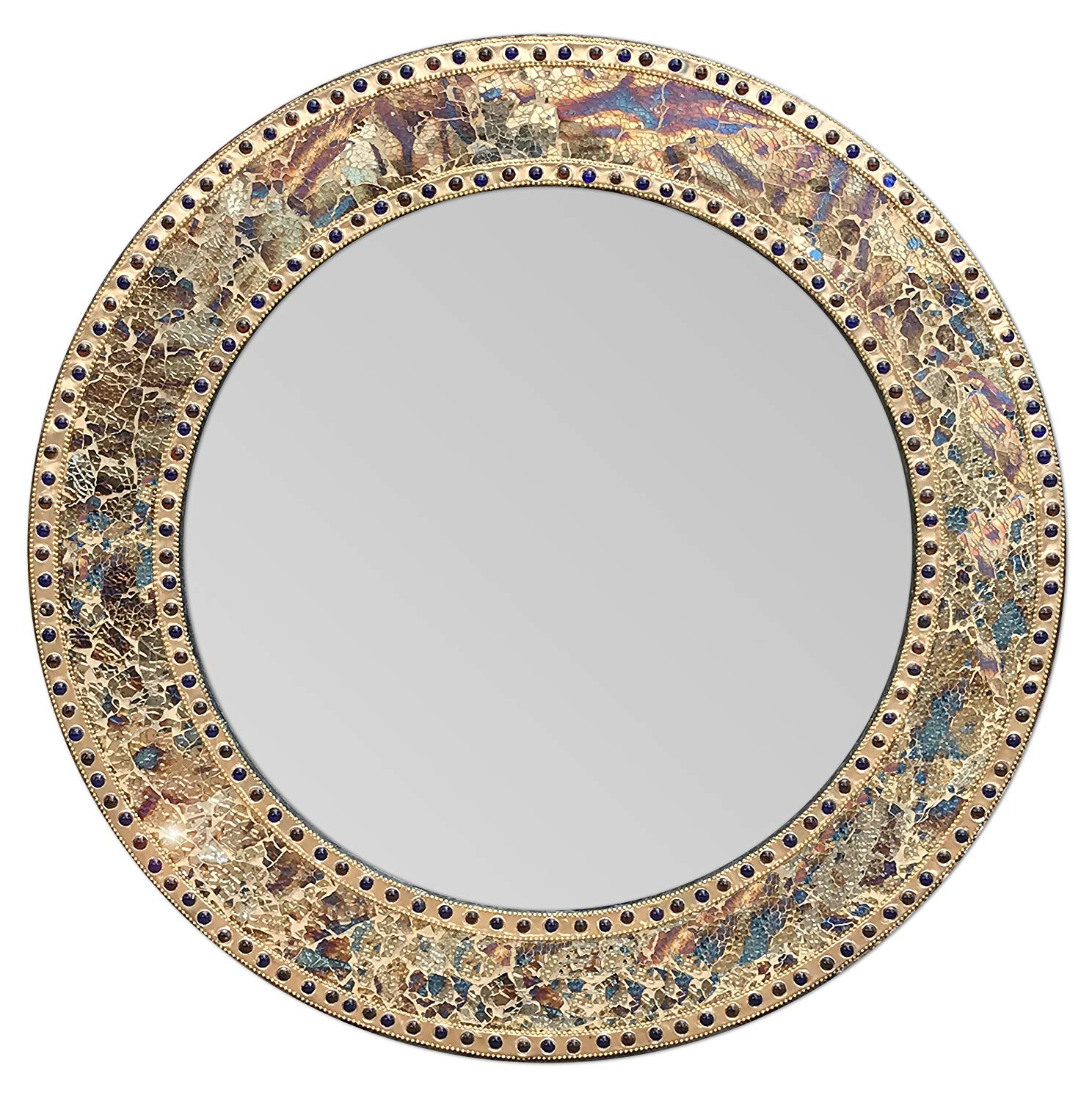 "Well Known Mosaic Wall Mirrors For Decorshore 24"" Fired Gold, Round Wall Mirror, Crackled Glass Mosaic, Decorative Design (Gallery 7 of 20)"