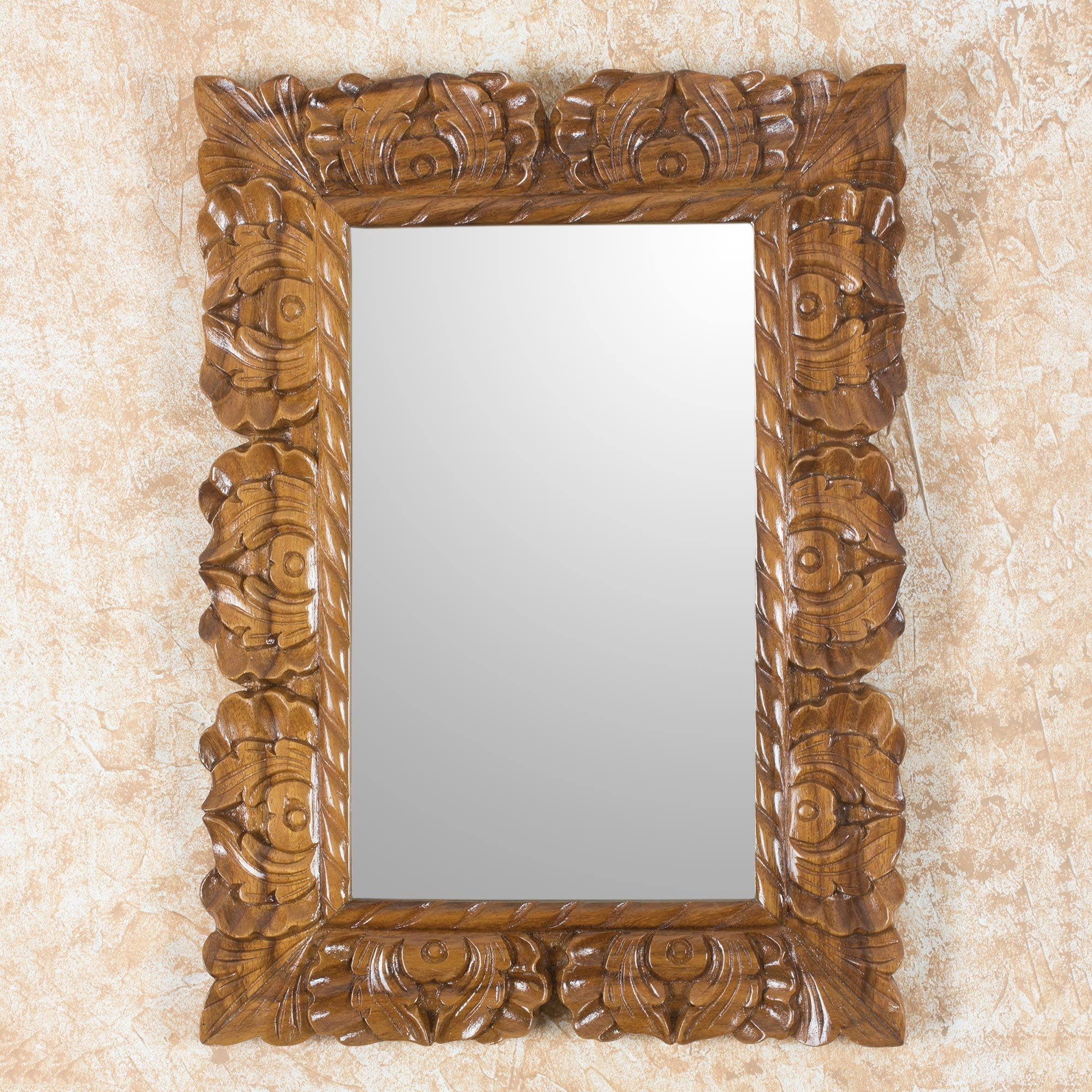 Well Known Naturally Baroque Hand Carved Conacaste Wood Wall Mirror For Baroque Wall Mirrors (View 18 of 20)
