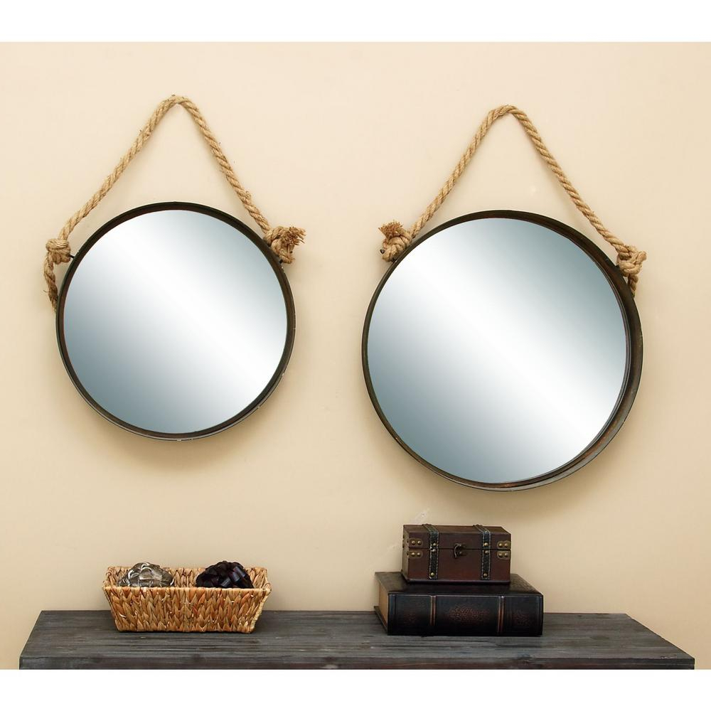 Well Known Nautical Wall Mirrors Throughout Suspended 2 Piece Deep Dish Framed Mirror Set (View 6 of 20)