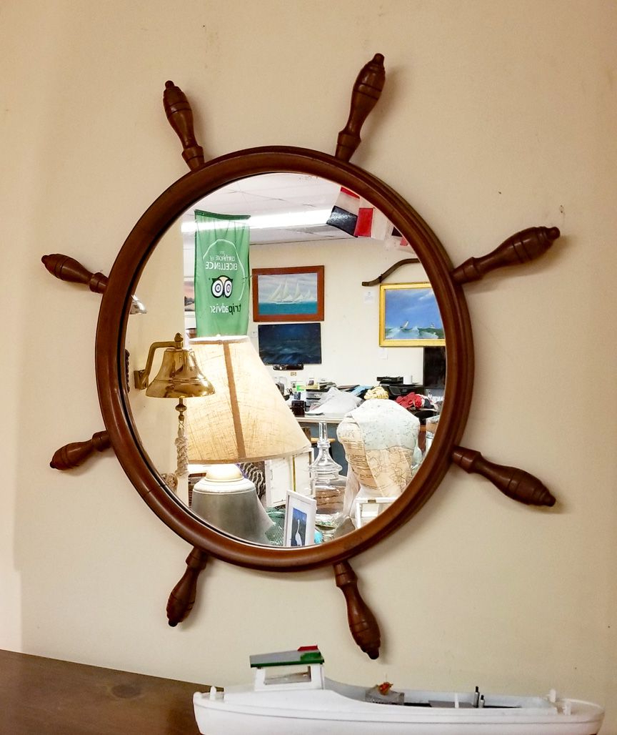 Well Known Nautical Wall Mirrors With Vintage Maple Yacht Wheel Nautical Wall Mirror In (View 2 of 20)