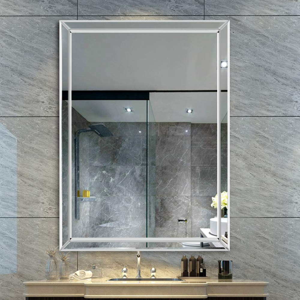Well Known Neutype Large Framed Wall Mirror Rectangle Frameless Beveled Mirror Hangs Vertically, Perfect For Bedroom/bathroom (40 X 28 In) Regarding Frameless Large Wall Mirrors (View 15 of 20)