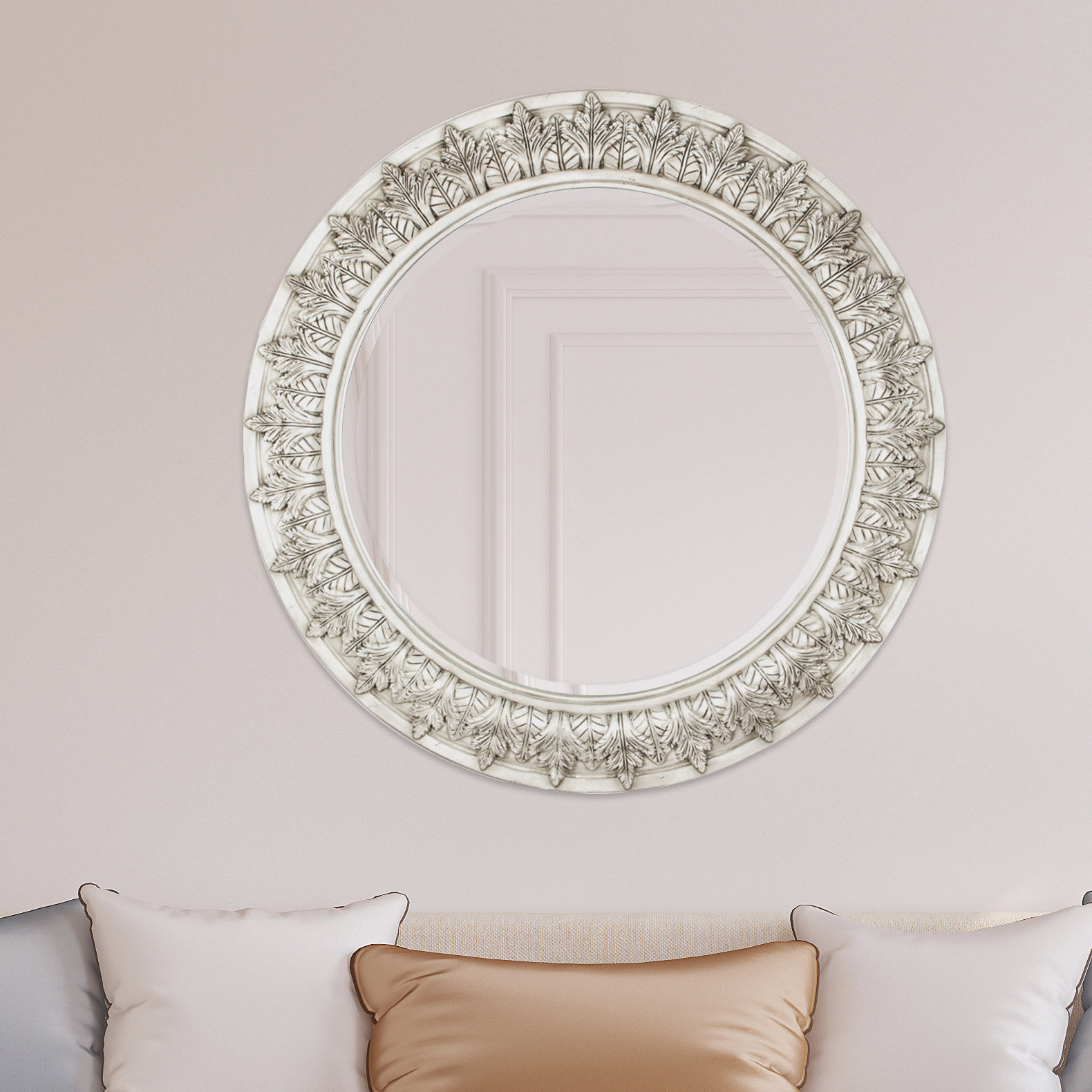 Well Known Offerman Round Accent Mirror Pertaining To Glen View Beaded Oval Traditional Accent Mirrors (View 18 of 20)