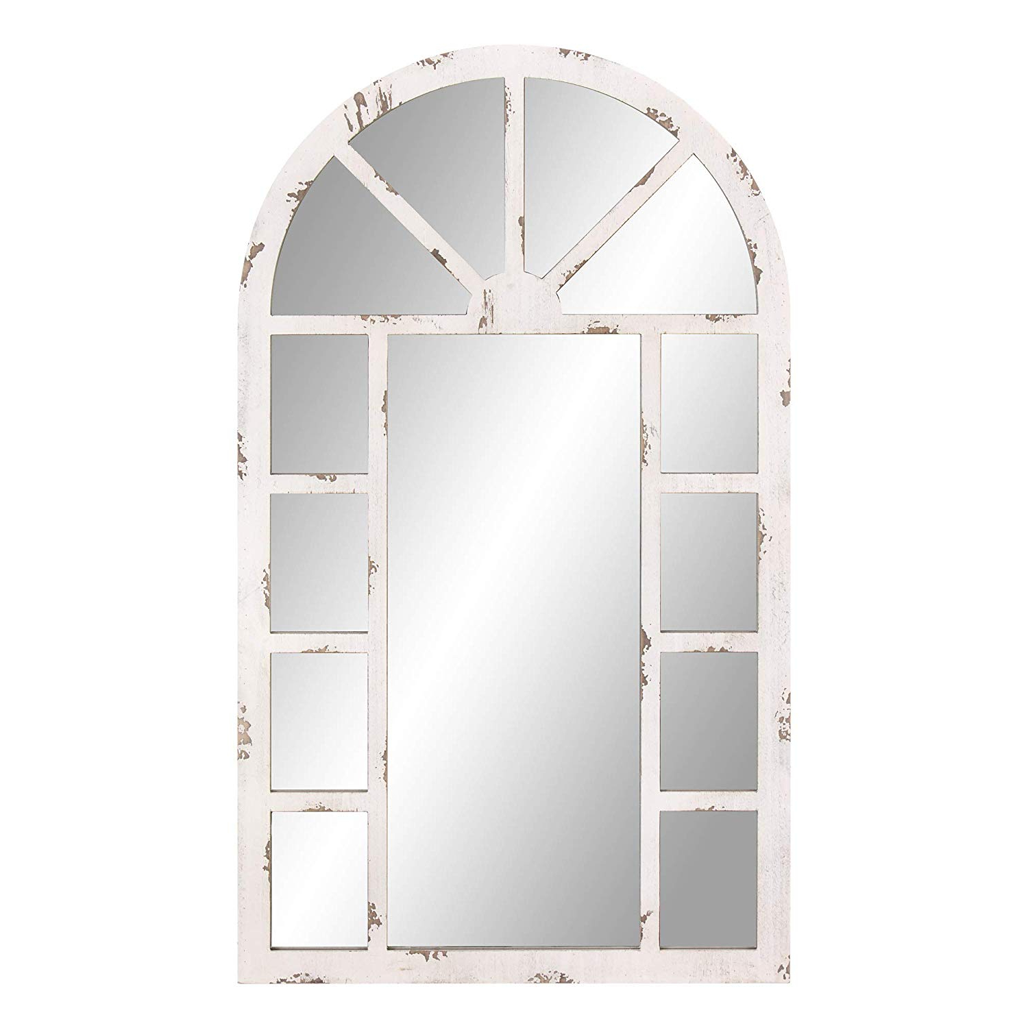 Well Known Patton Wall Decor 24x40 Distressed White Arch Windowpane Wall Mounted Mirrors Inside Distressed White Wall Mirrors (View 15 of 20)
