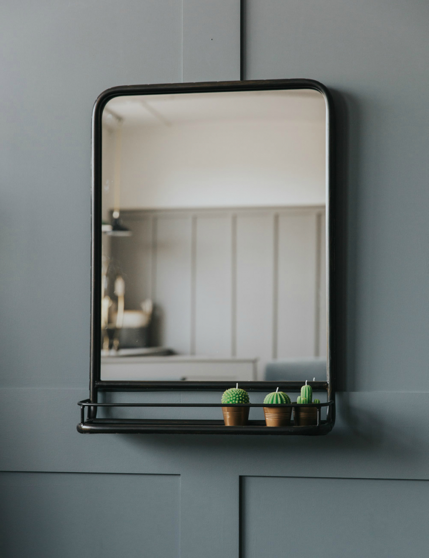 Well Known Peetz Modern Rustic Accent Mirrors With Regard To Large Industrial Mirror With Shelf (View 15 of 20)