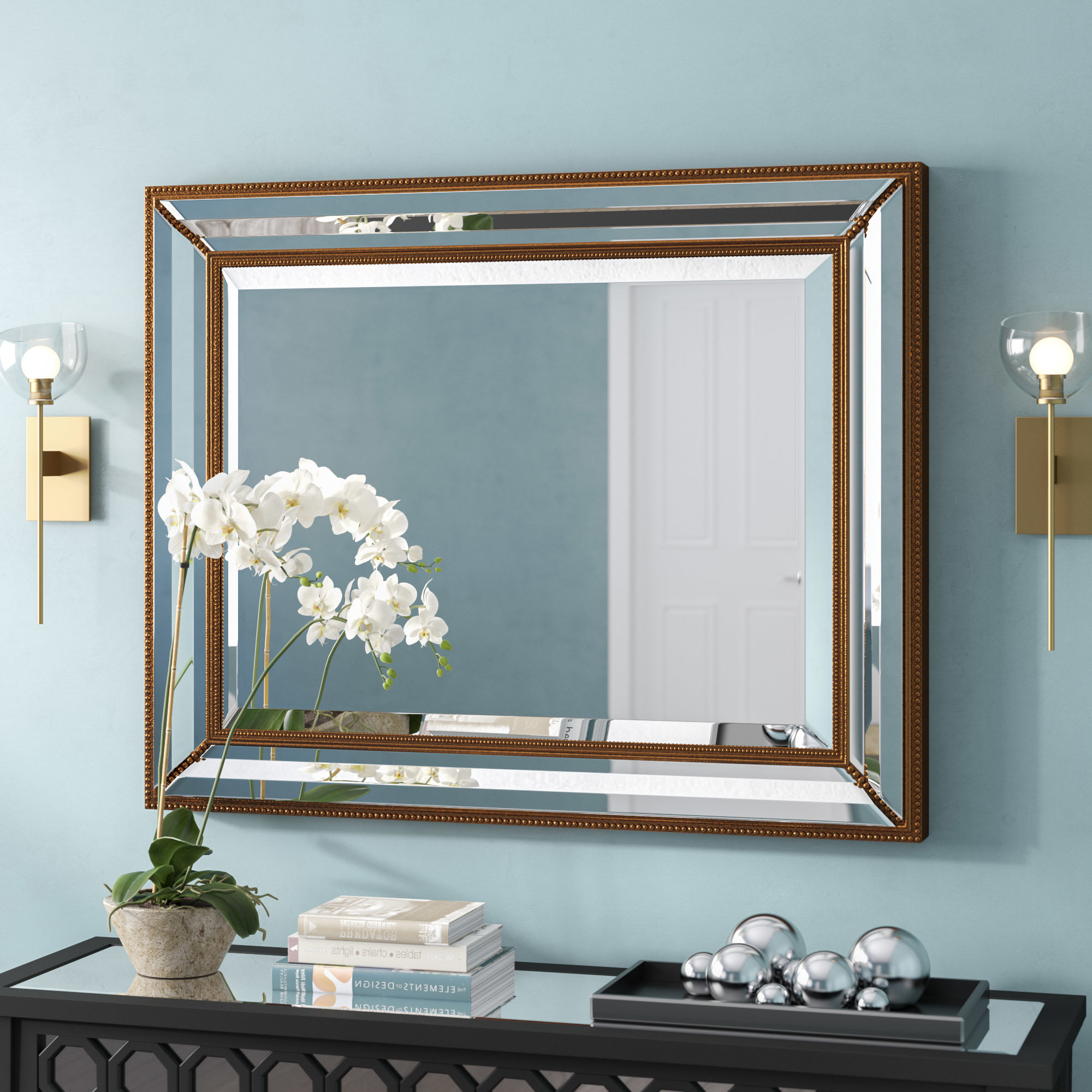 Well Known Rectangle Antique Bronze Wood Wall Mirror With Regard To Wall Mirrors For Living Room (View 20 of 20)