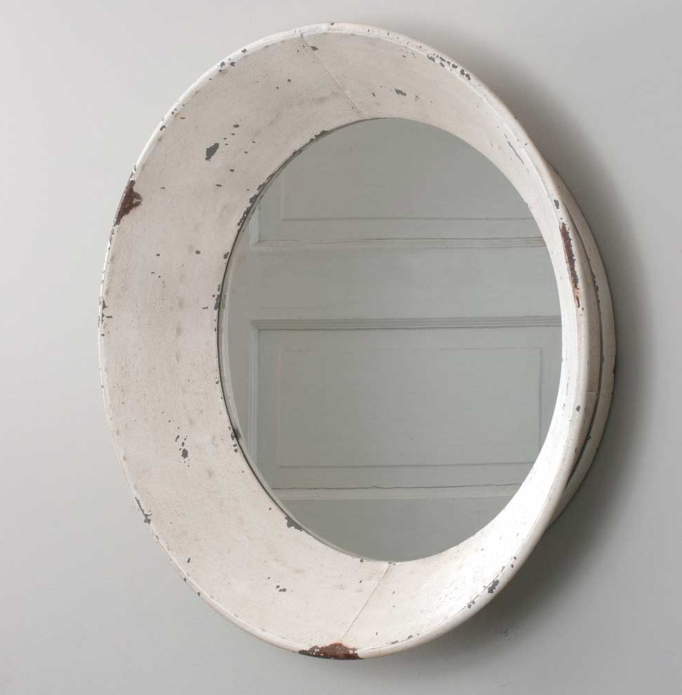 Well Known Retro Wall Mirrors Within Vintage Dutch Round White Wall Mirror (View 7 of 20)
