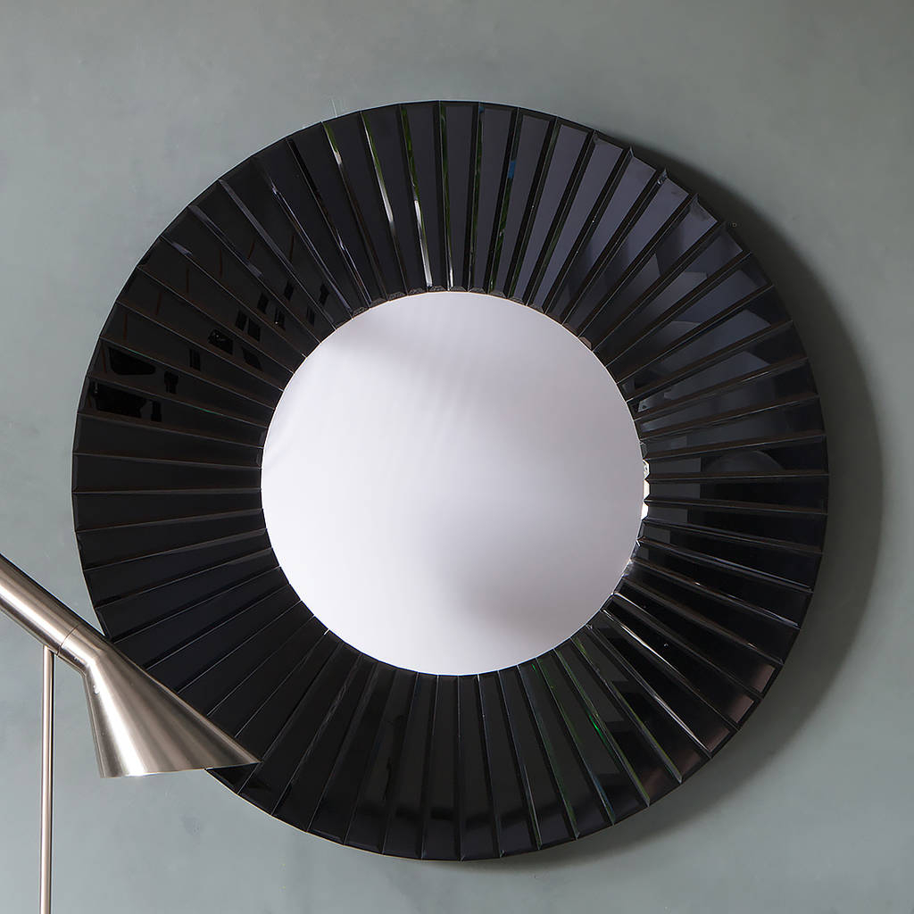 Well Known Round Black Wall Mirrors Inside Black All Glass Round Wall Mirror (View 6 of 20)
