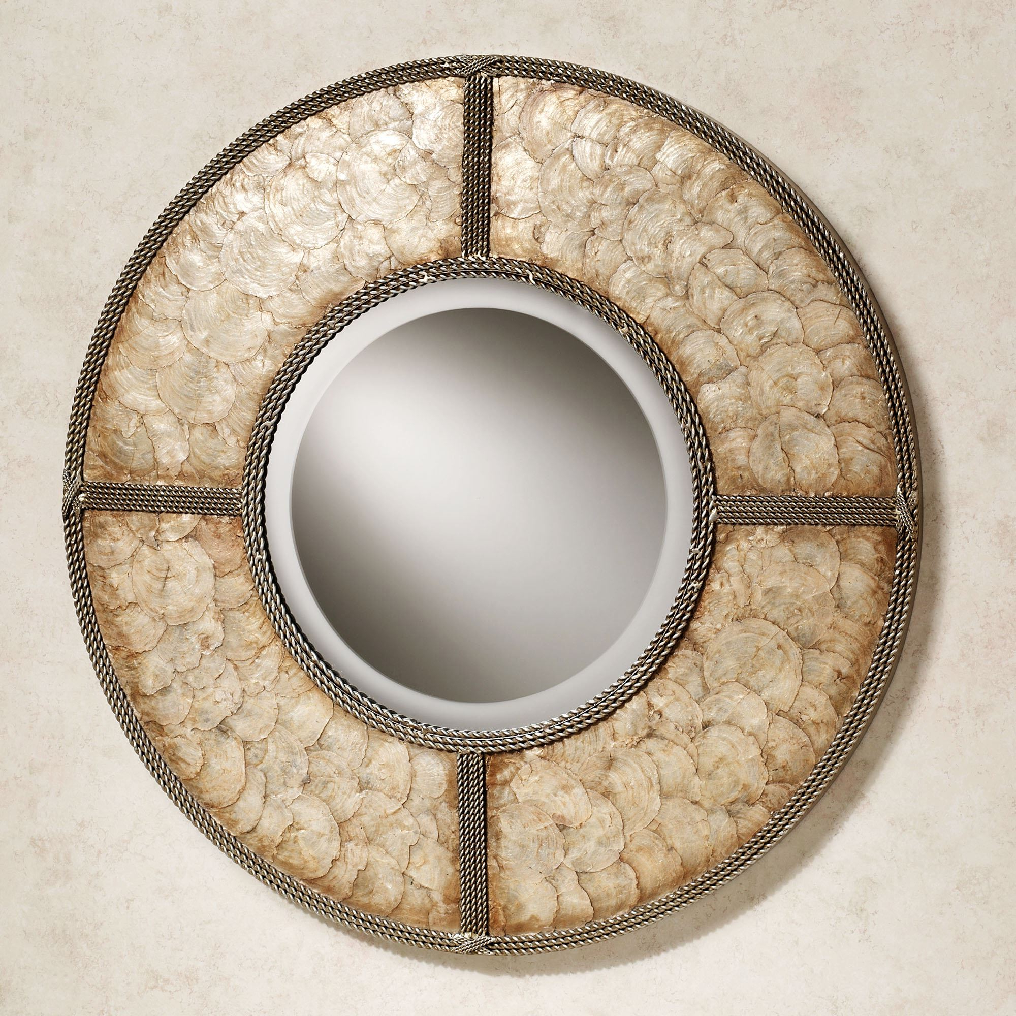 Well Known Round Metal Wall Mirrors With Capiz Shell Round Metal Wall Mirror (View 6 of 20)