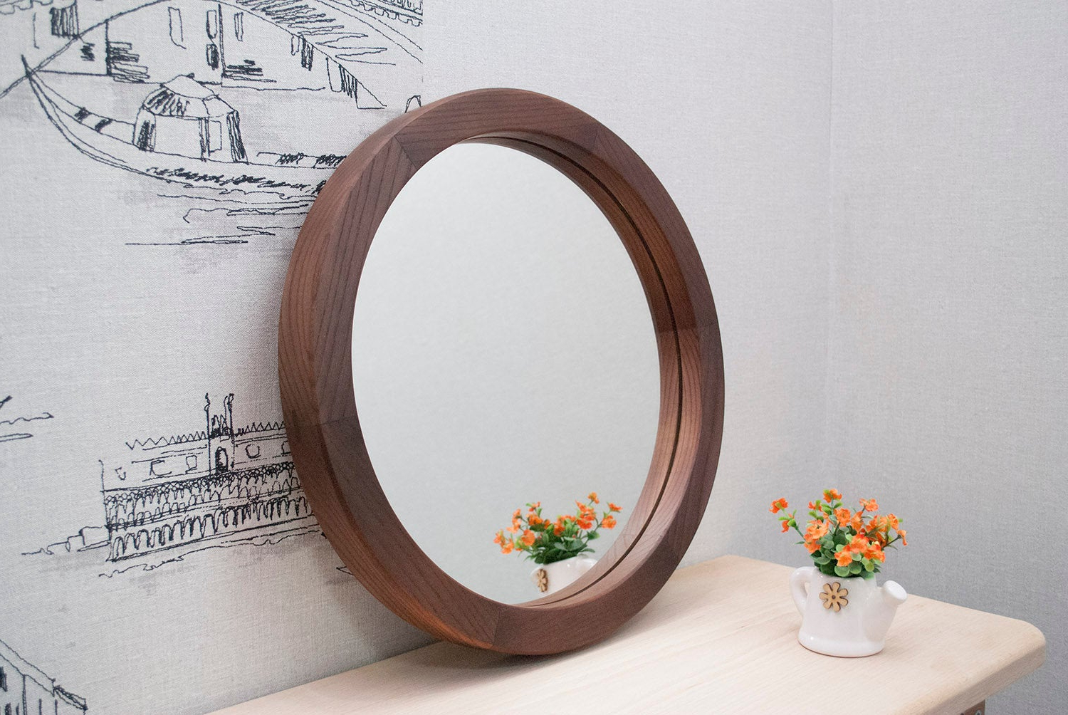 Well Known Round Wood Mirror, Round Decorative Wall Mirror, Ash Brown Wood Mirror Frame, Wall Mirror, Wall Decor, Round Framed Wall Mount Mirror Inside Round Wood Wall Mirrors (View 20 of 20)