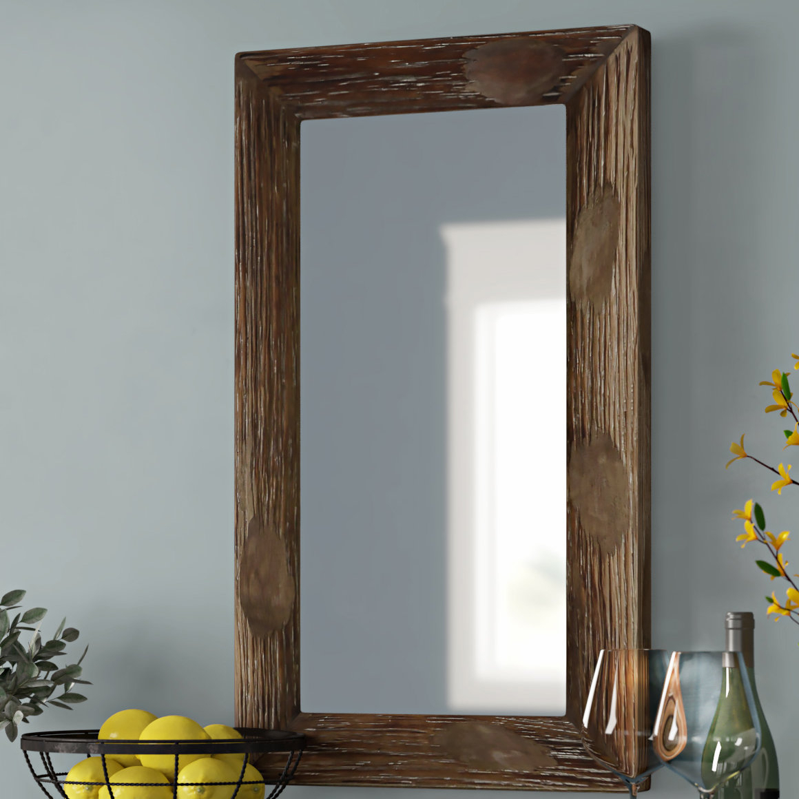 Well Known Rustic Wall Mirrors Throughout Tahara Rustic Wall Mirror (View 2 of 20)
