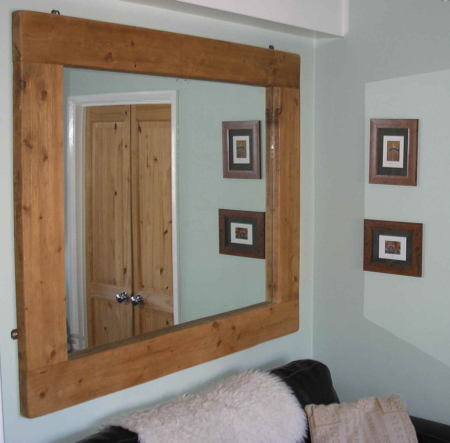 Well Known Rustic Wooden Framed Mirror Design For White Wall Part Of Throughout Large Wooden Wall Mirrors (View 3 of 20)