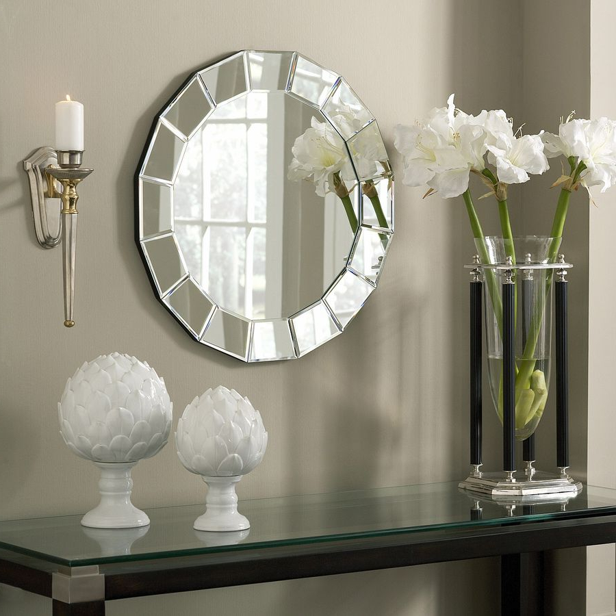 Well Known Shop Allen + Roth 25 In X 25 In Beveled Beveled Round Frameless Throughout Round Beveled Wall Mirrors (View 8 of 20)