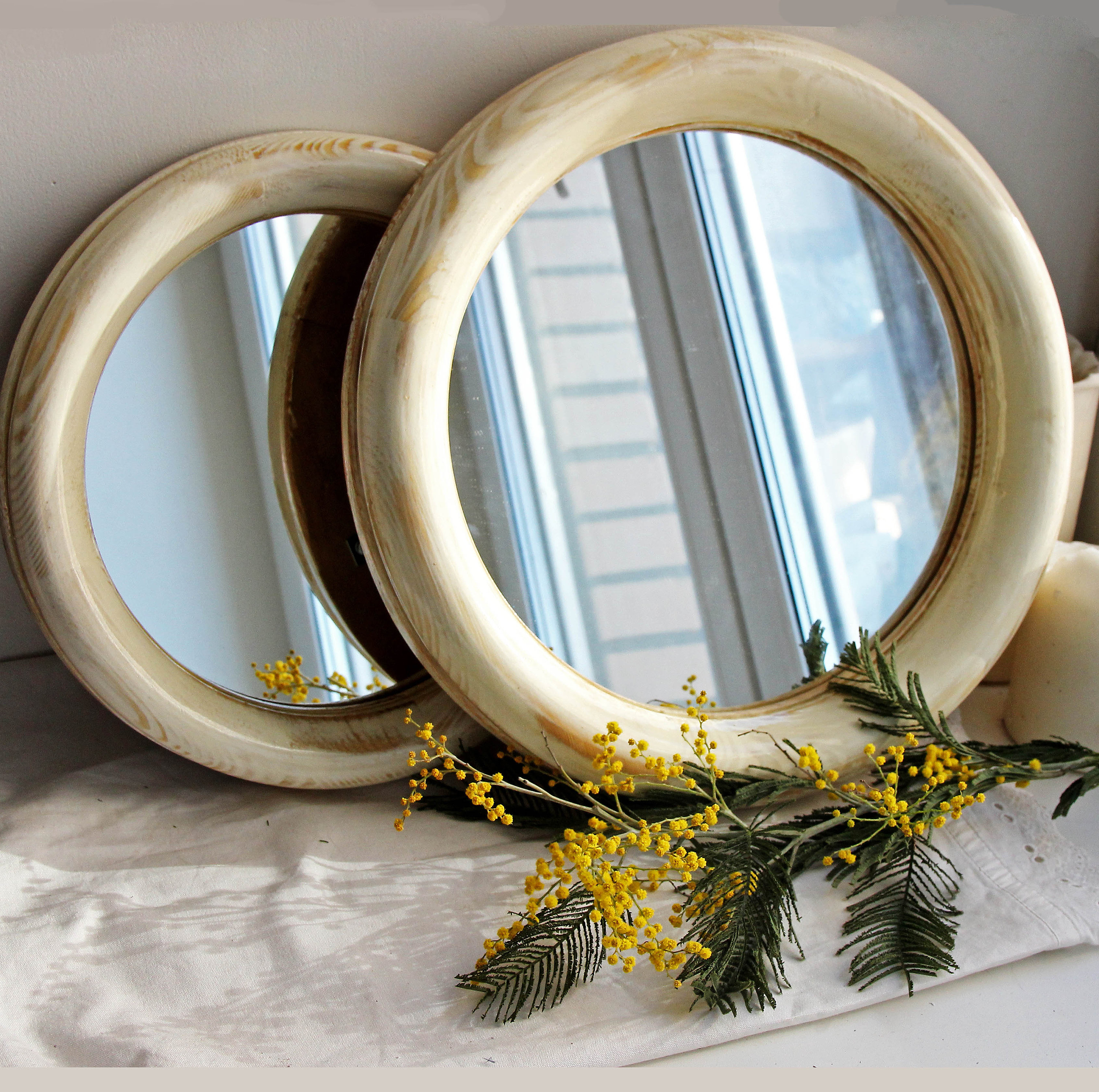 Well Known Small Round Wall Mirrors Throughout Round Mirror Round Decorative Wall Mirror Wood Mirror Frame Wall Mirror Wall Decor Round Ivory Mirror Small Round Framed Wall Mount Mirror (View 15 of 20)