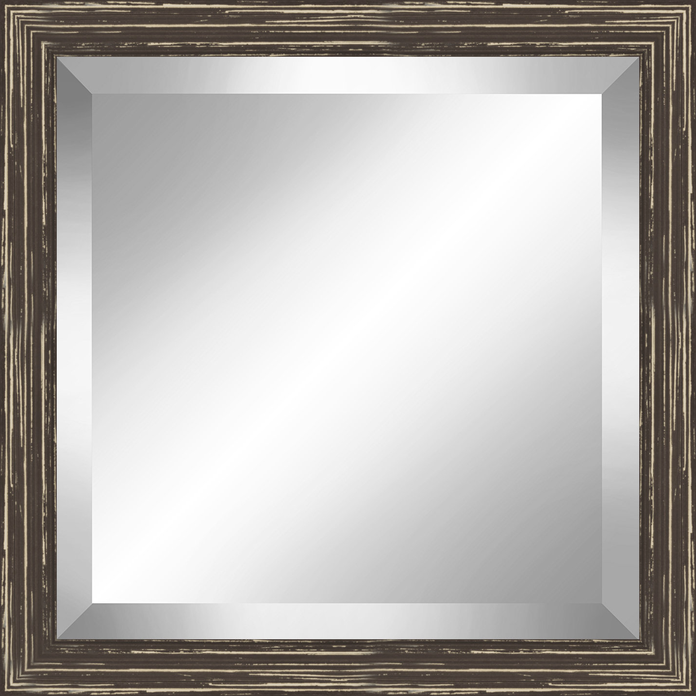 Well Known Square Distressed Wooden Beveled Plate Accent Mirror Inside Bartolo Accent Mirrors (View 18 of 20)