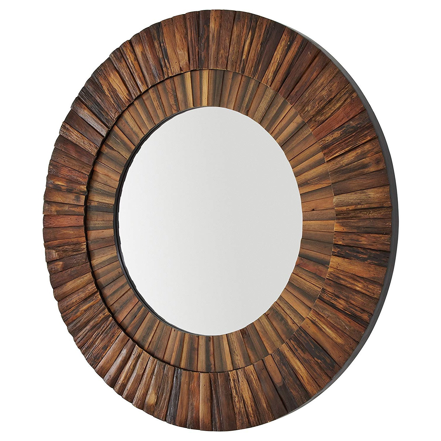 Well Known Stone & Beam Round Layered Rustic Wood Hanging Wall Mirror Decor, 42 Inch  Height, Dark Wood Finish Inside Dark Wood Wall Mirrors (View 20 of 20)