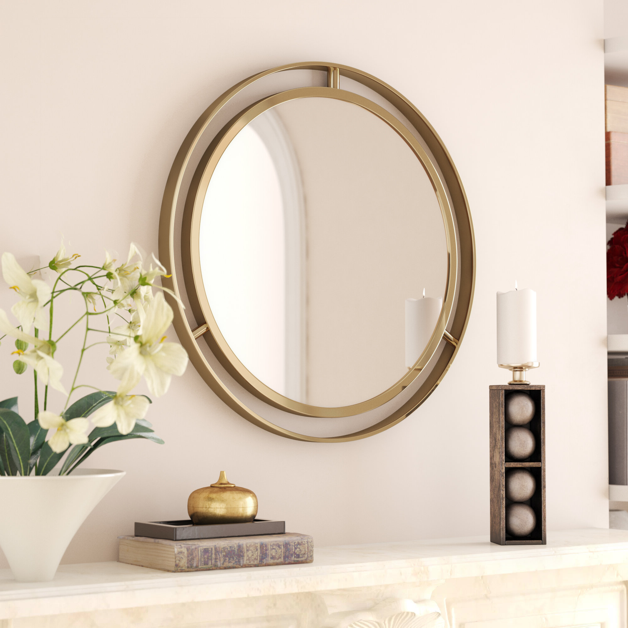 Well Known Terwilliger Round Wall Mirror With Regard To Pfister Oval Wood Wall Mirrors (View 12 of 20)