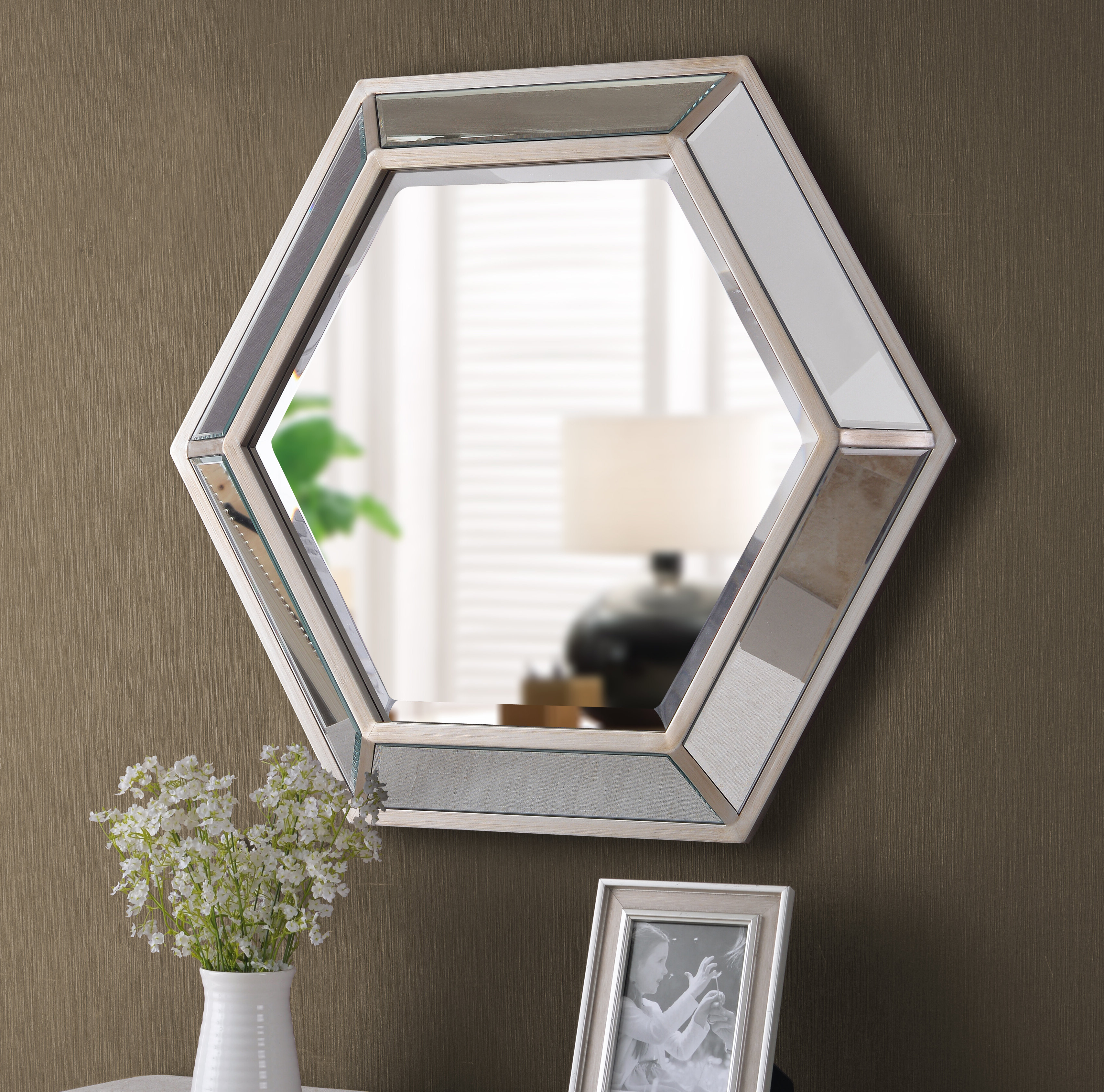 Well Known Trigg Accent Mirrors Throughout Tulare Hexagonal D Ring Wall Mounted Beveled Accent Mirror (View 10 of 20)