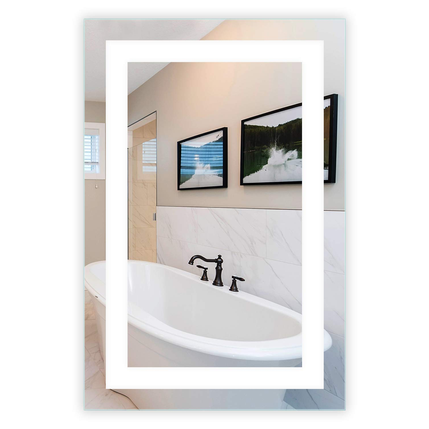 """Well Known Vanity Mirrors Inside Led Front Lighted Bathroom Vanity Mirror: 24"""" Wide X 36"""" Tall – Commercial Grade – Rectangular – Wall Mounted (View 15 of 20)"""
