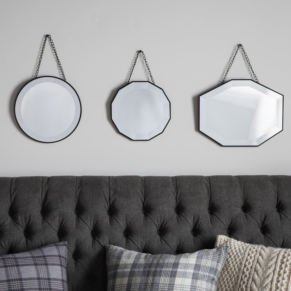 Well Known Vintage Style Hanging Wall Mirrors, Set Of 3 In (View 15 of 20)