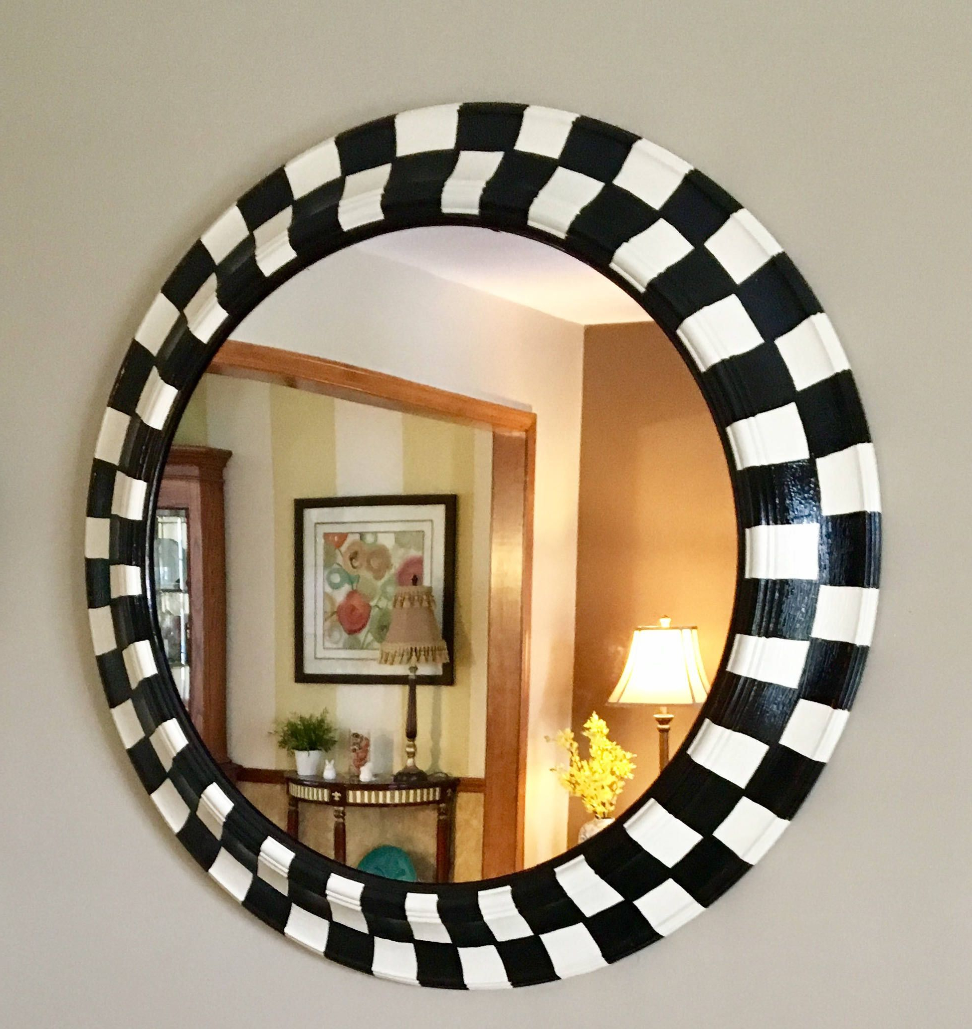 Well Known Whimsical Painted Mirror // Round Black And White Checked Regarding Whimsical Wall Mirrors (View 9 of 20)