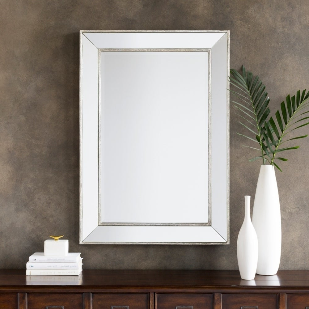 "Well Known Wilkes Silver Large Rectangular Wall Mirror (28X40) – 28"" X 40"" Intended For X Large Wall Mirrors (View 14 of 20)"