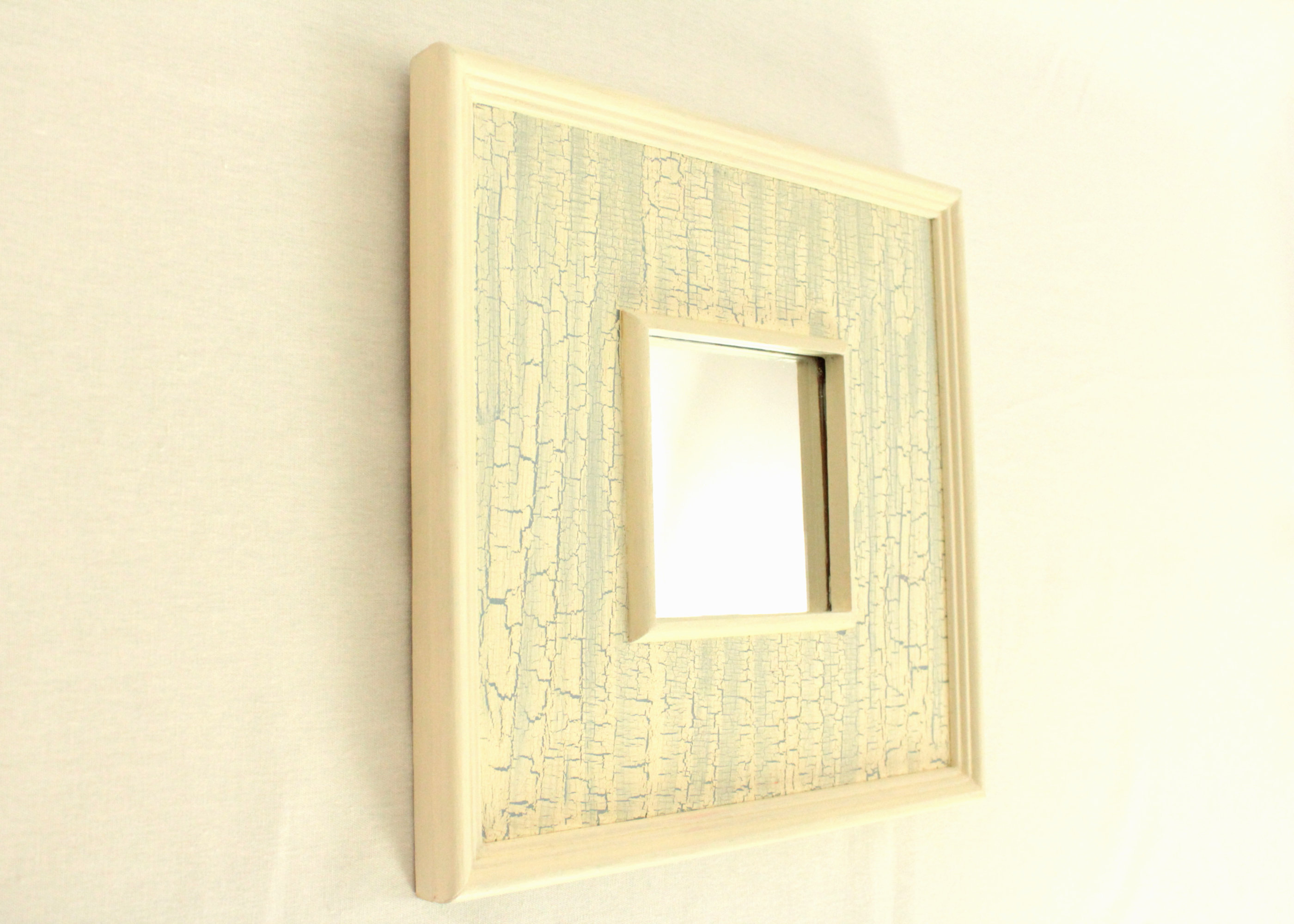 """Well Known Window Cream Wood Wall Mirrors Pertaining To Wooden Wall Mirror, Wood Frame, 10""""/ 25cm Square, Crackle Finish, Cream And Blue, Hand Painted And Finished, Wall Hanging, Remade (View 7 of 20)"""