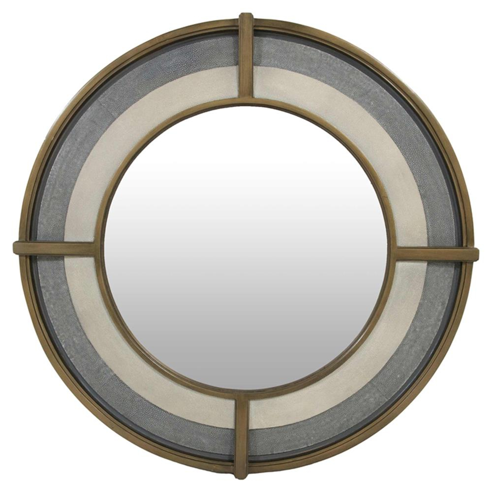 Well Known Zac Modern Classic Grey Shagreen White Resin Gold Round Porthole Wall Mirror – (View 14 of 20)