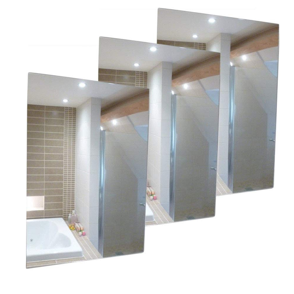 Well Liked 3 Pack A3 Plastic Wall Mirror Tiles Anti Shatter Safety Acrylic Sheet  Adhesive Within Plastic Wall Mirrors (View 19 of 20)