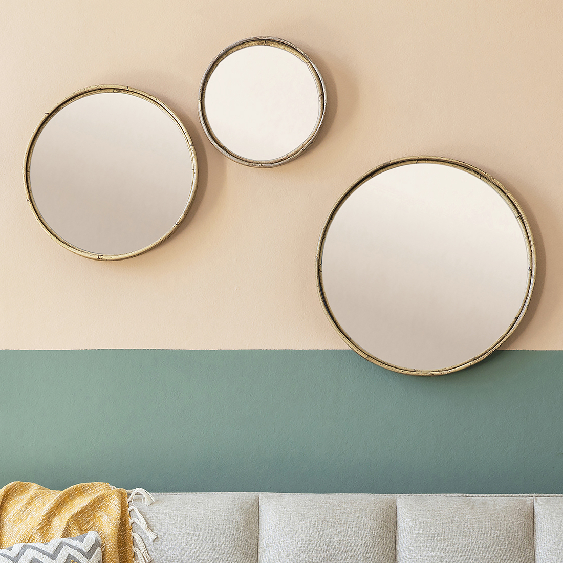 Well Liked Bamboo Wall Mirrors Within Round Bamboo Wall Mirrors – Set Of Three (View 11 of 20)