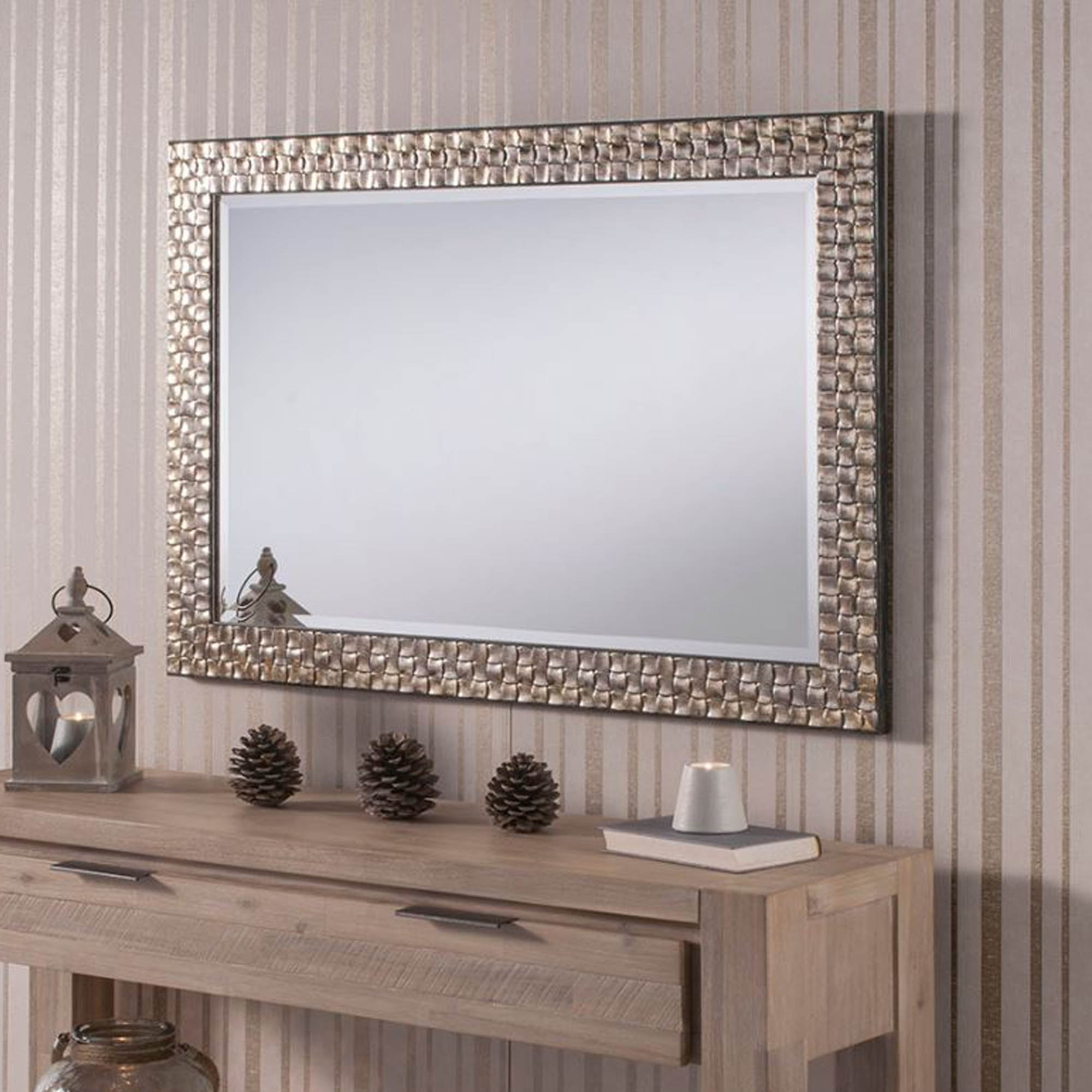 Well Liked Beautiful Wall Mirrors Regarding Textured Antique Silver Rectangular Wall Mirror (View 11 of 20)