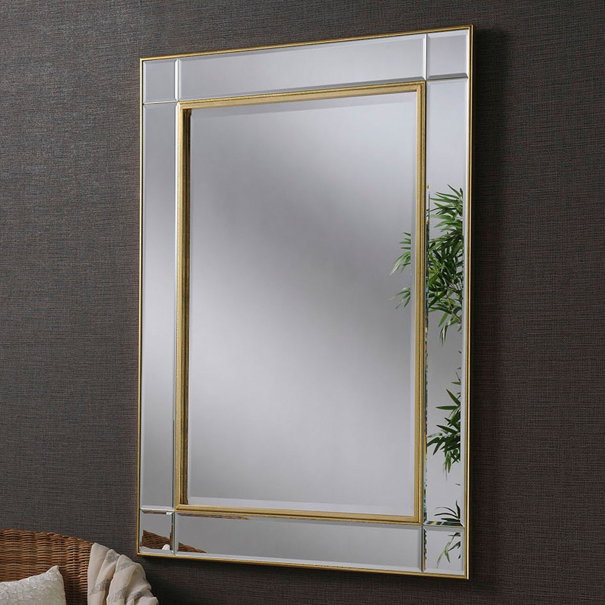 Well Liked Beveled Wall Mirrors Pertaining To Contemporary Gold Beveled Wall Mirror (View 2 of 20)