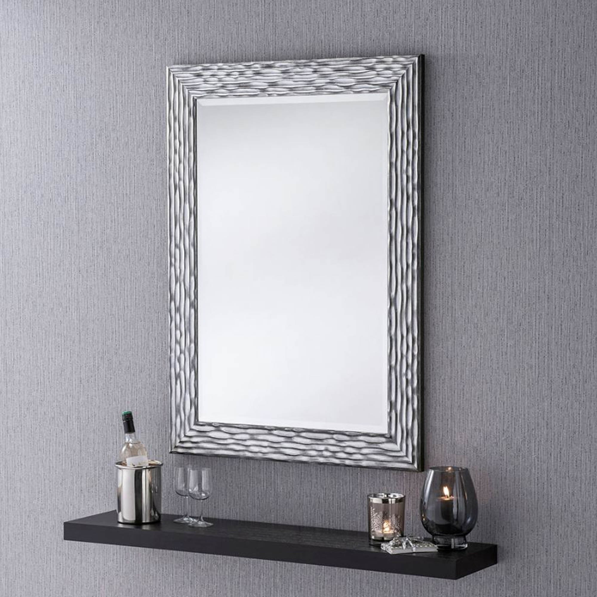 Well Liked Black And Silver Textured Wall Mirror Inside Black And Silver Wall Mirrors (View 2 of 20)