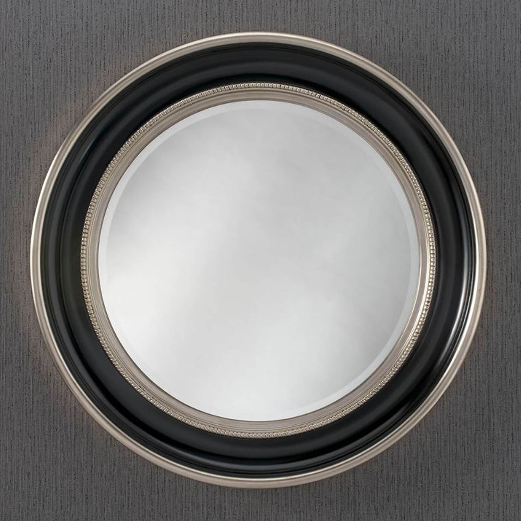 Well Liked Black Round Wall Mirrors With Round Black & Silver Contemporary Wall Mirror (View 8 of 20)