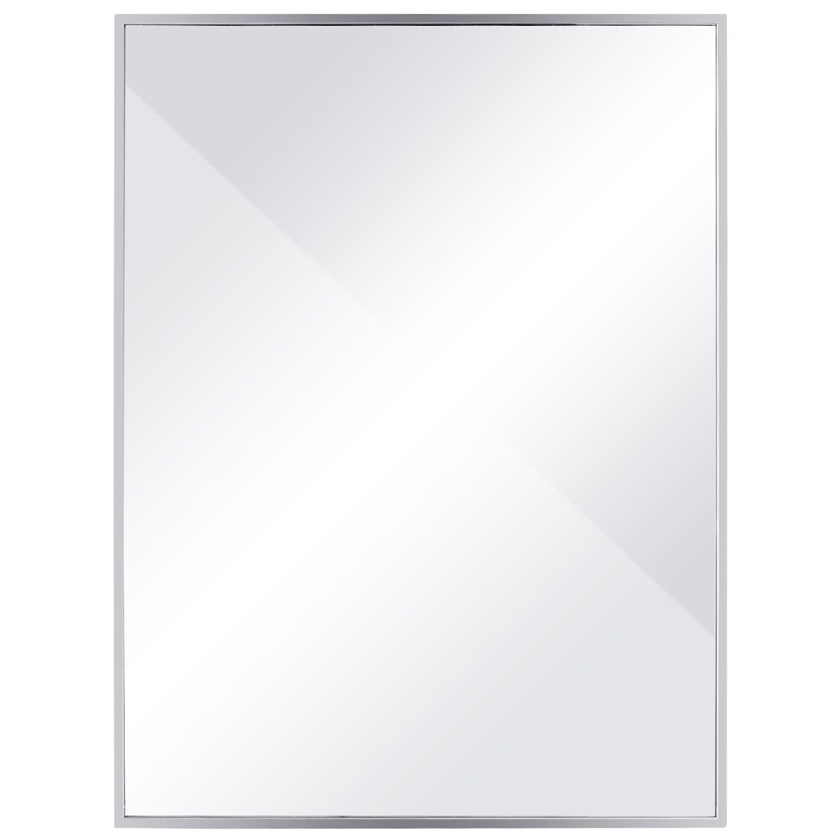 Well Liked Costway 24'' X 32'' Large Rectangular Wall Mirror Stainless Steel Frame Floating Glass With Stainless Steel Wall Mirrors (View 9 of 20)