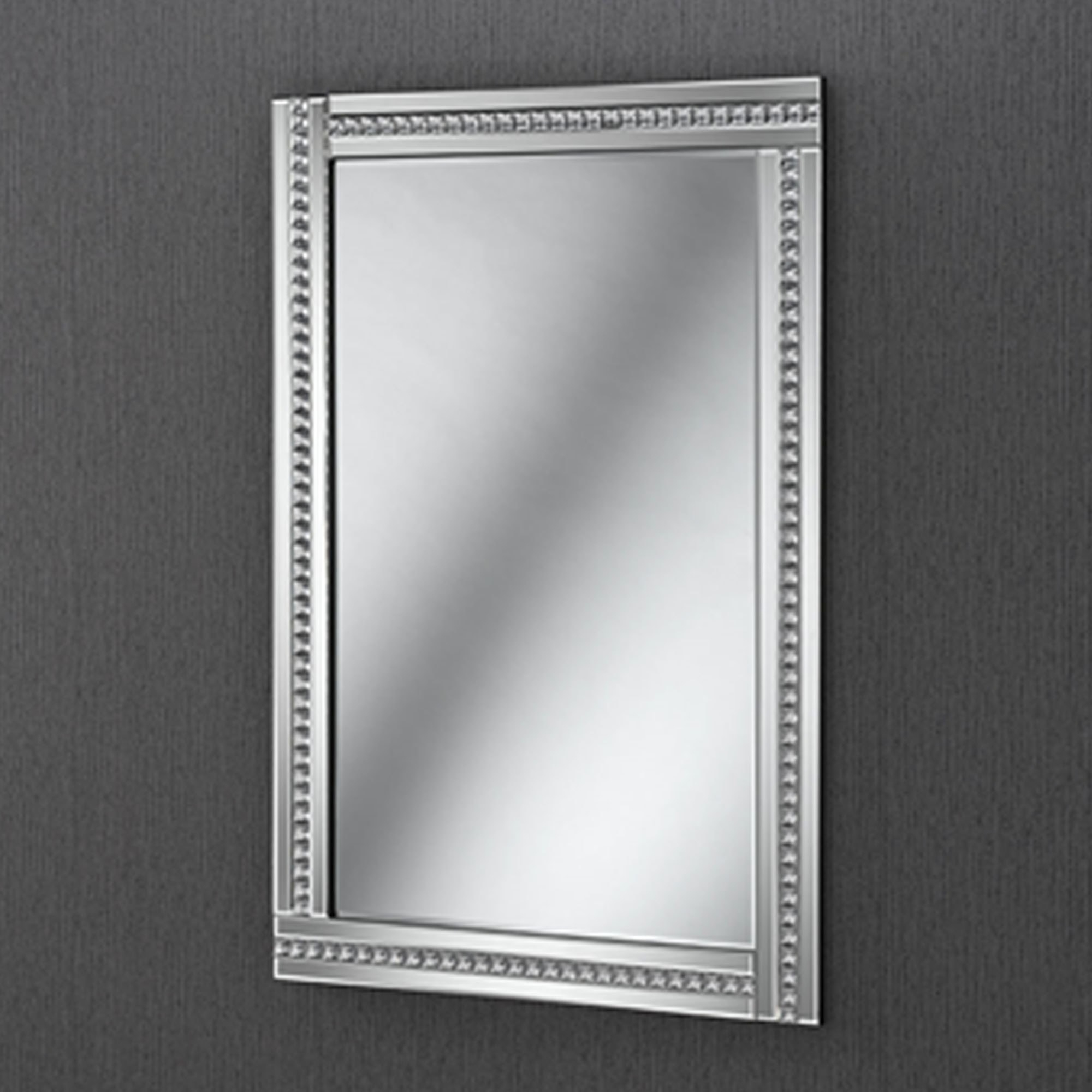 Well Liked Crystal Crush Square Studded Contemporary Wall Mirror Pertaining To Studded Wall Mirrors (View 20 of 20)
