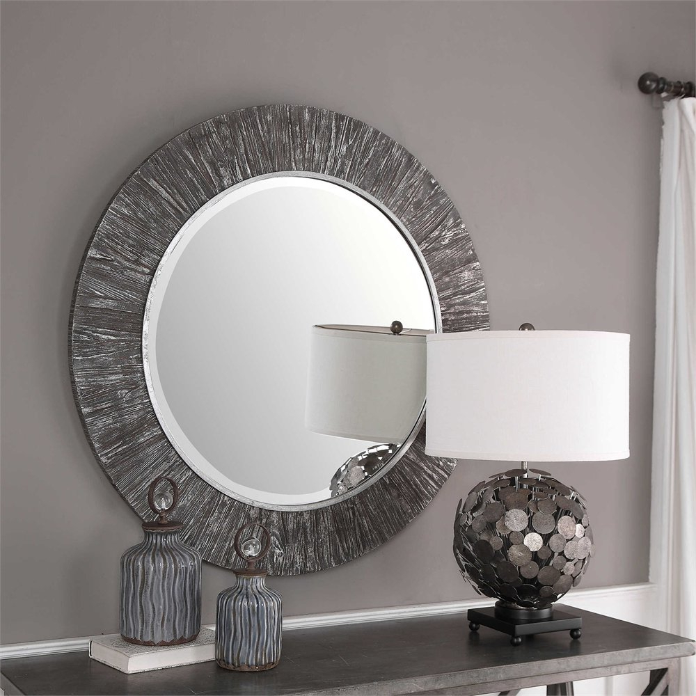 Well Liked Details About Bungalow Rose Tania Round Aged Wood Accent Mirror In Wood Accent Mirrors (View 14 of 20)