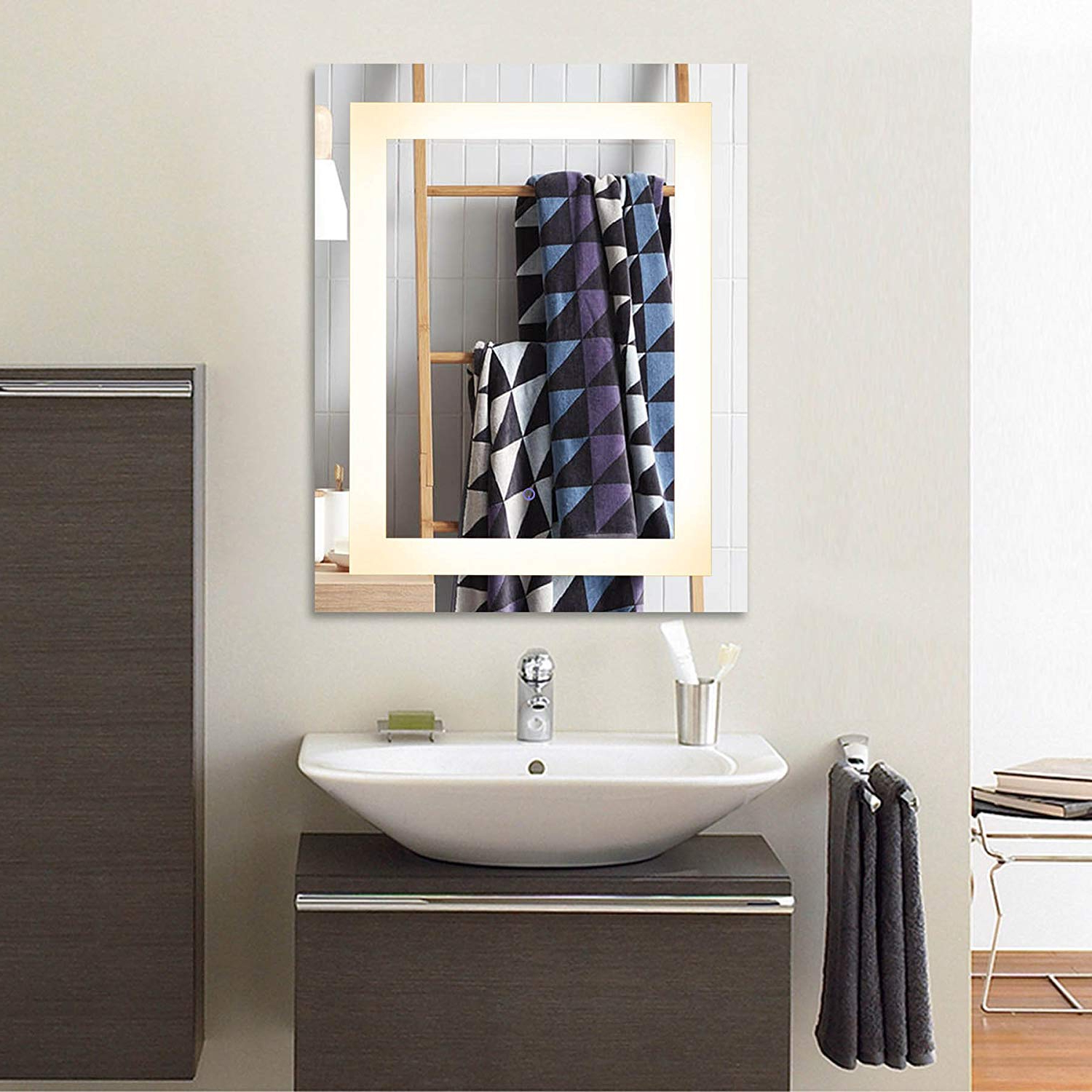 Well Liked Details About Co Z Modern Led Bathroom Mirror, Dimmable Rectangle Lighted Wall Mirror With Pertaining To Lighted Wall Mirrors For Bathrooms (View 8 of 20)