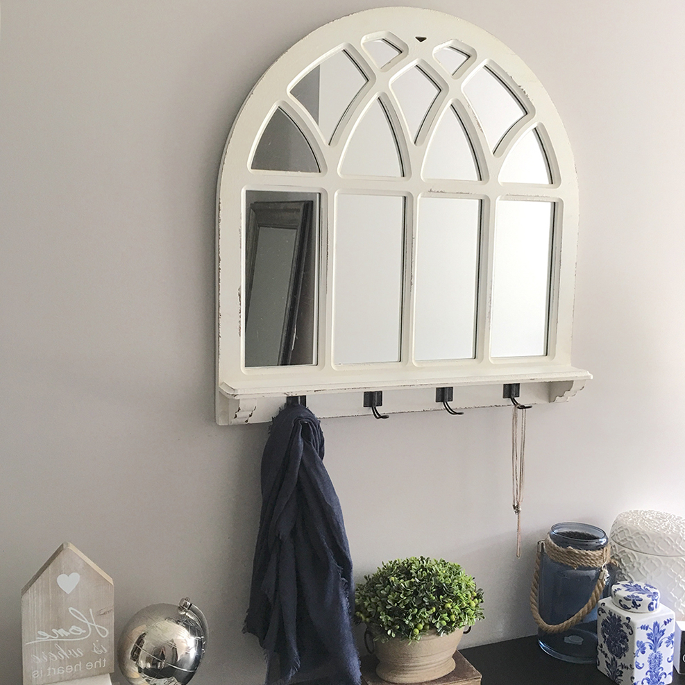 Well Liked Details About White Wood Arch Mirror With Shelf & Hooks/window Arched Entry  Wall Mirror Within Wall Mirrors With Shelf And Hooks (View 19 of 20)