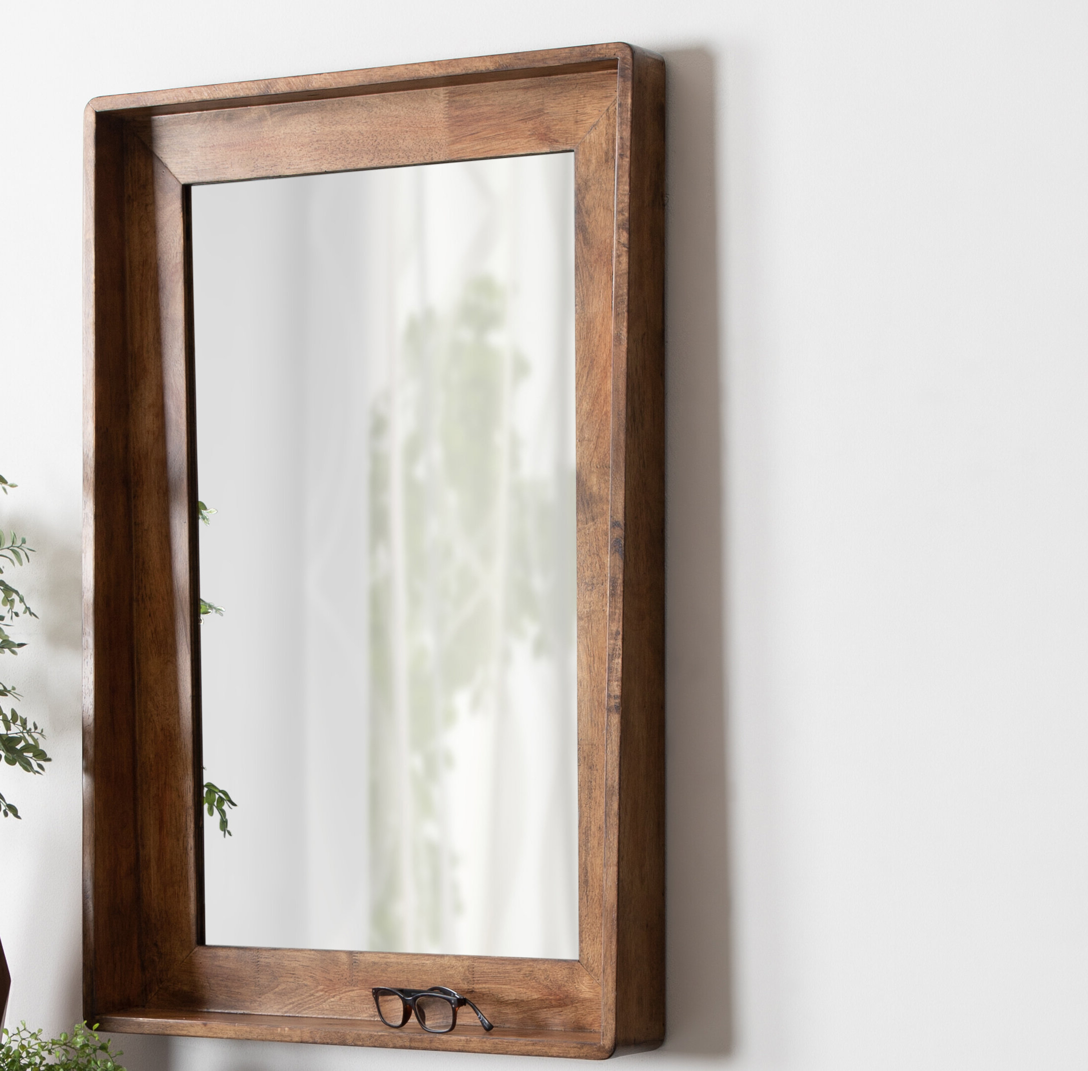 Well Liked Epinal Shabby Elegance Wall Mirrors In Elizabeth Vertical Wood Accent Mirror With Shelf (View 12 of 20)
