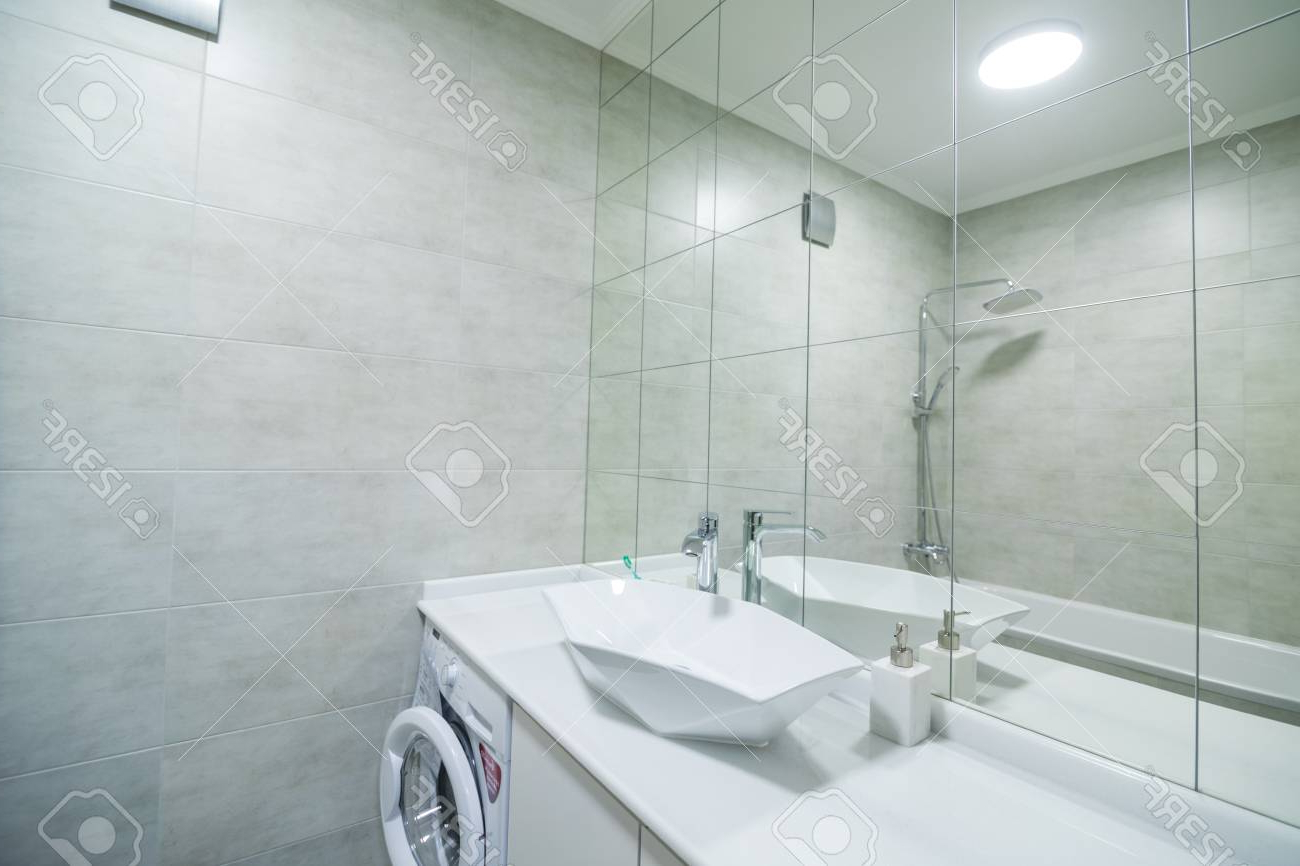 Well Liked Fancy Bathroom Wall Mirrors Within Modern Bathroom With A Shower Area And Bath Tub Including A Wall. (View 6 of 20)