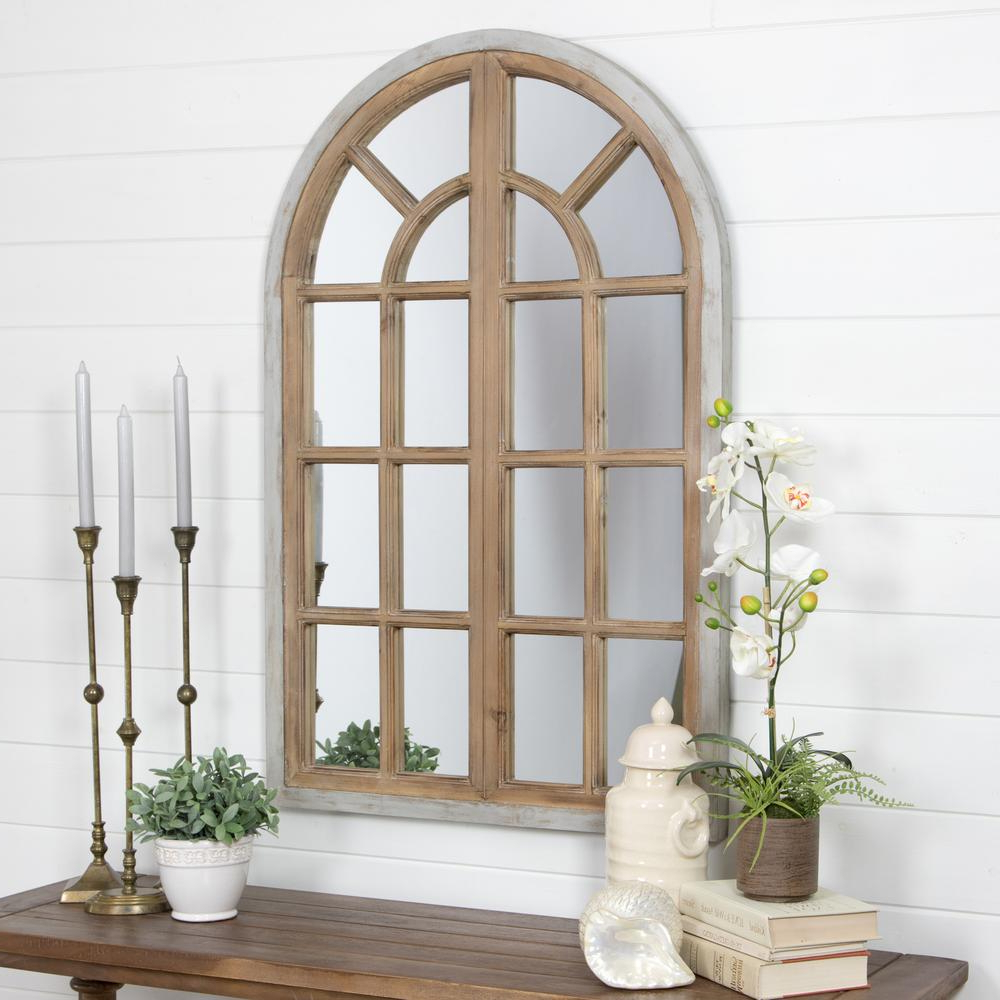 Well Liked Faux Window Wood Wall Mirrors In Night Wall White Rustic Frame Decorating Astonishing Decor Arch (Gallery 9 of 20)