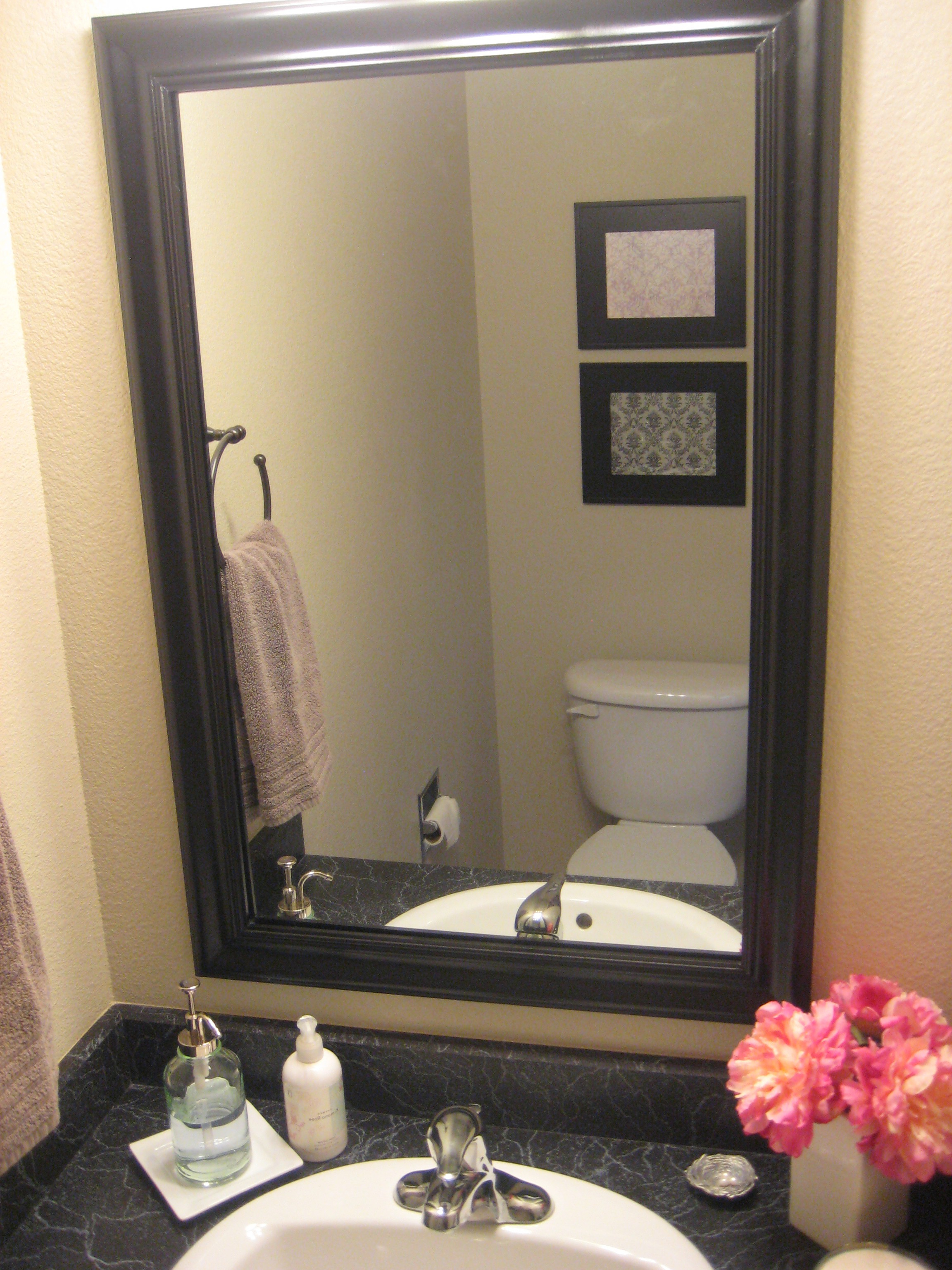 Well Liked Frames For Bathroom Wall Mirrors Intended For Gray Wall Paint Mirror With White Wooden Frame Ceramic Countertop (View 18 of 20)
