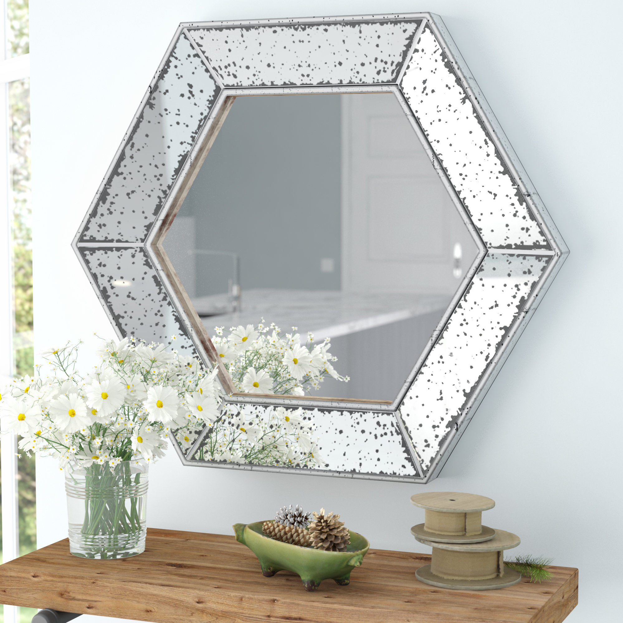 Well Liked Gia Hexagon Accent Mirror Inside Accent Mirrors (Gallery 8 of 20)