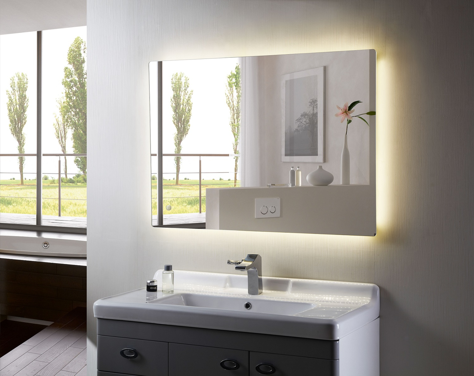 Well Liked Illuminated Wall Mirrors For Bathroom Regarding Backlit Mirror Led Bathroom Mirror Anzo Iii (Gallery 5 of 20)