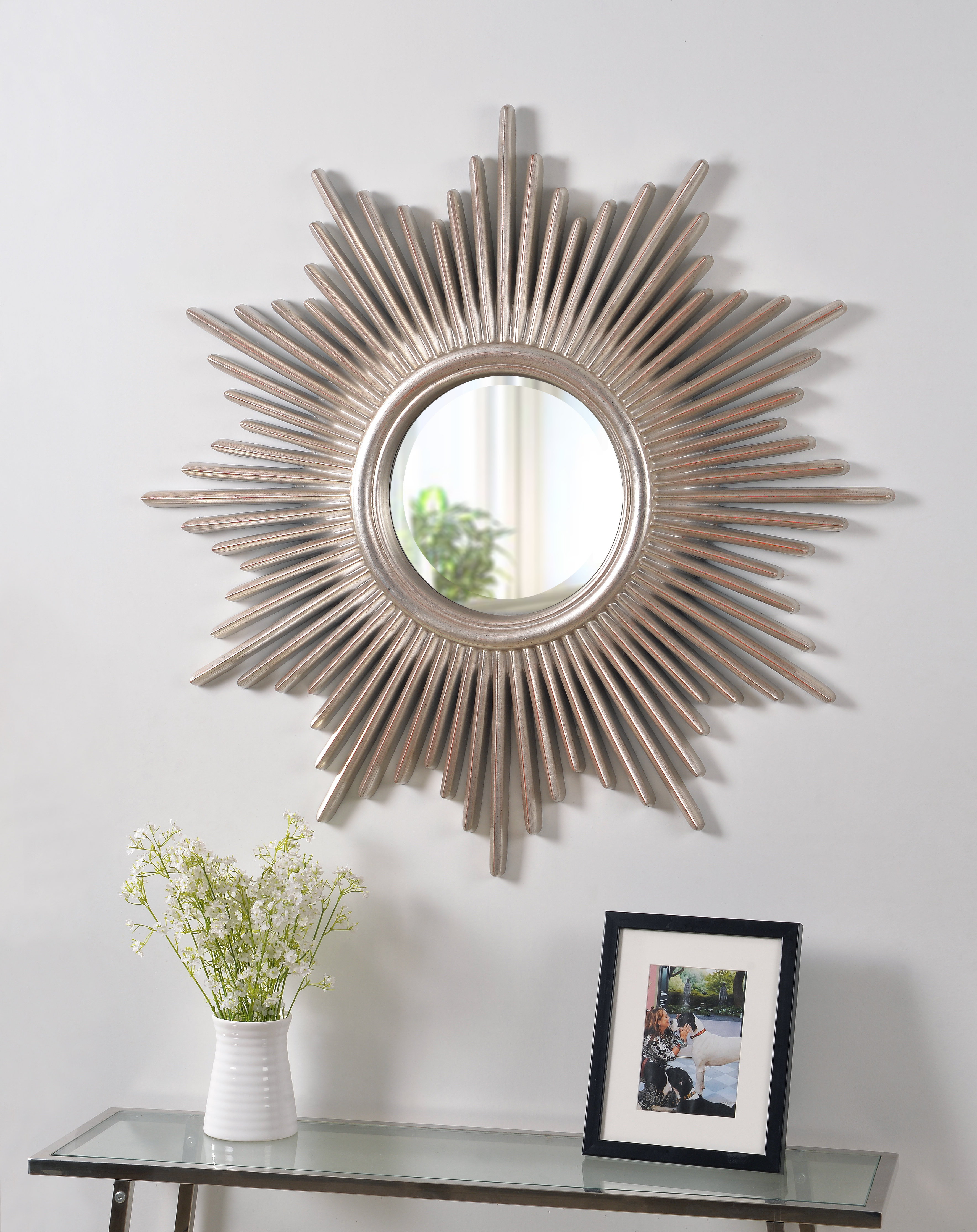 Well Liked Josephson Starburst Glam Beveled Accent Wall Mirror In Harbert Modern And Contemporary Distressed Accent Mirrors (View 9 of 20)